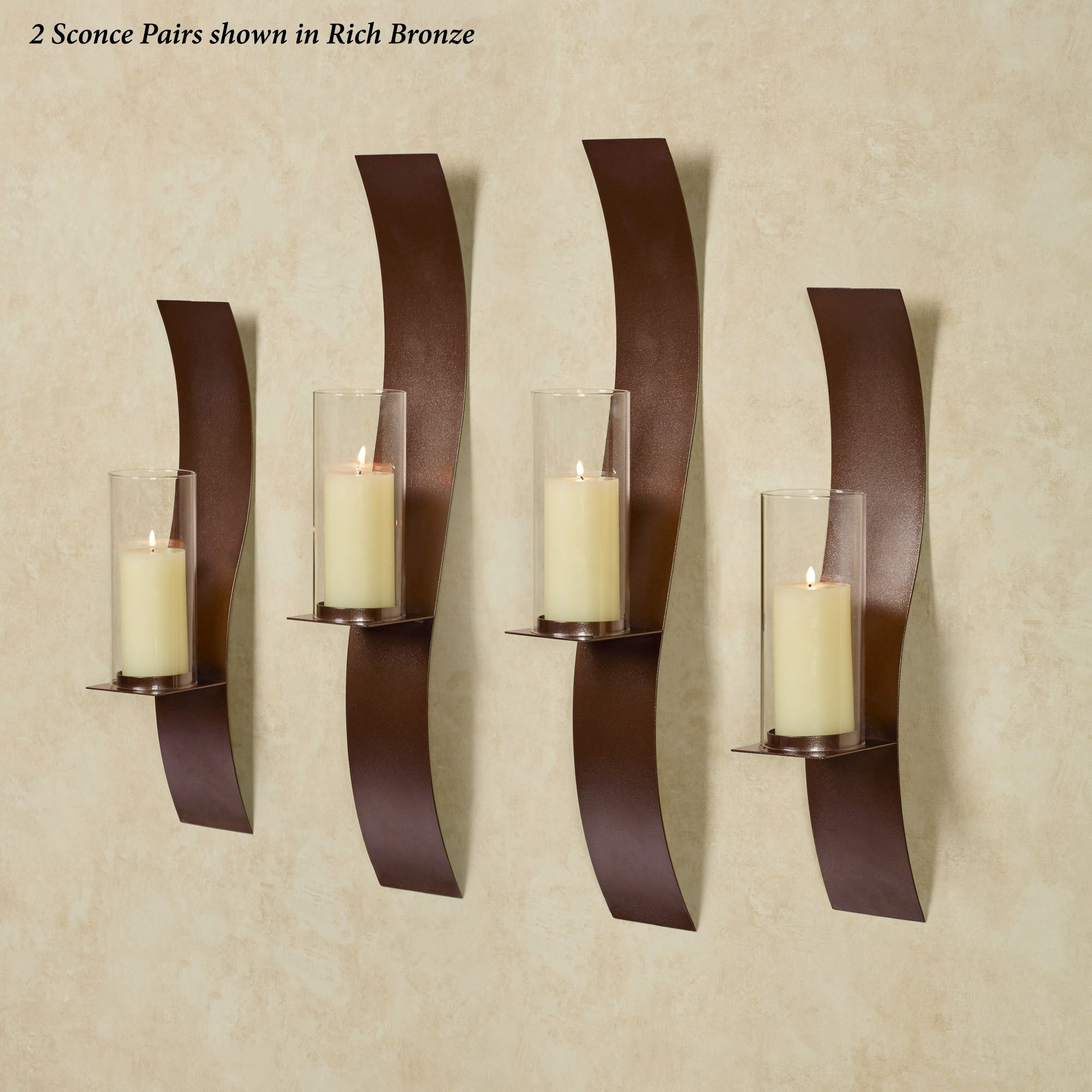 Sinuous Rich Bronze Wall Sconce Set By Jasonw Studios