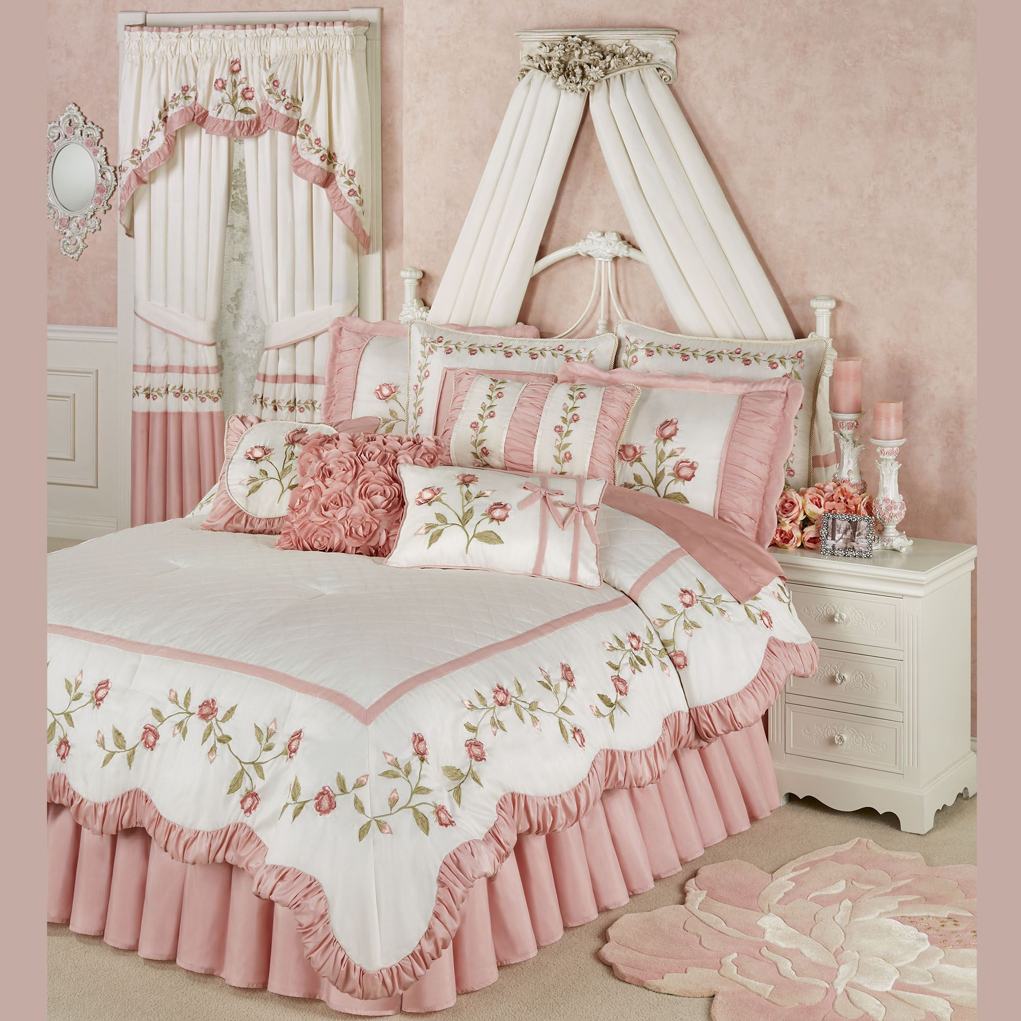 PINK ROSE EMBROIDERED BLUSH  DUVET SET IN DOUBLE KING OR SUPERKING OR CURTAINS