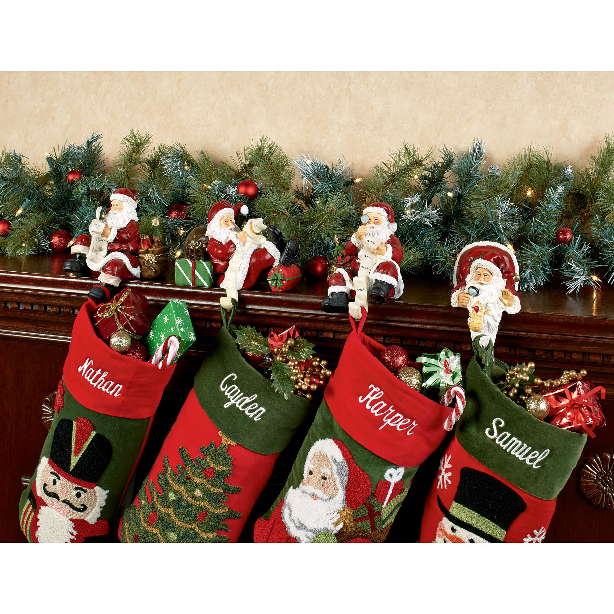 checking twice stocking holder set touch to zoom - Christmas Stocking Holders For Fireplace