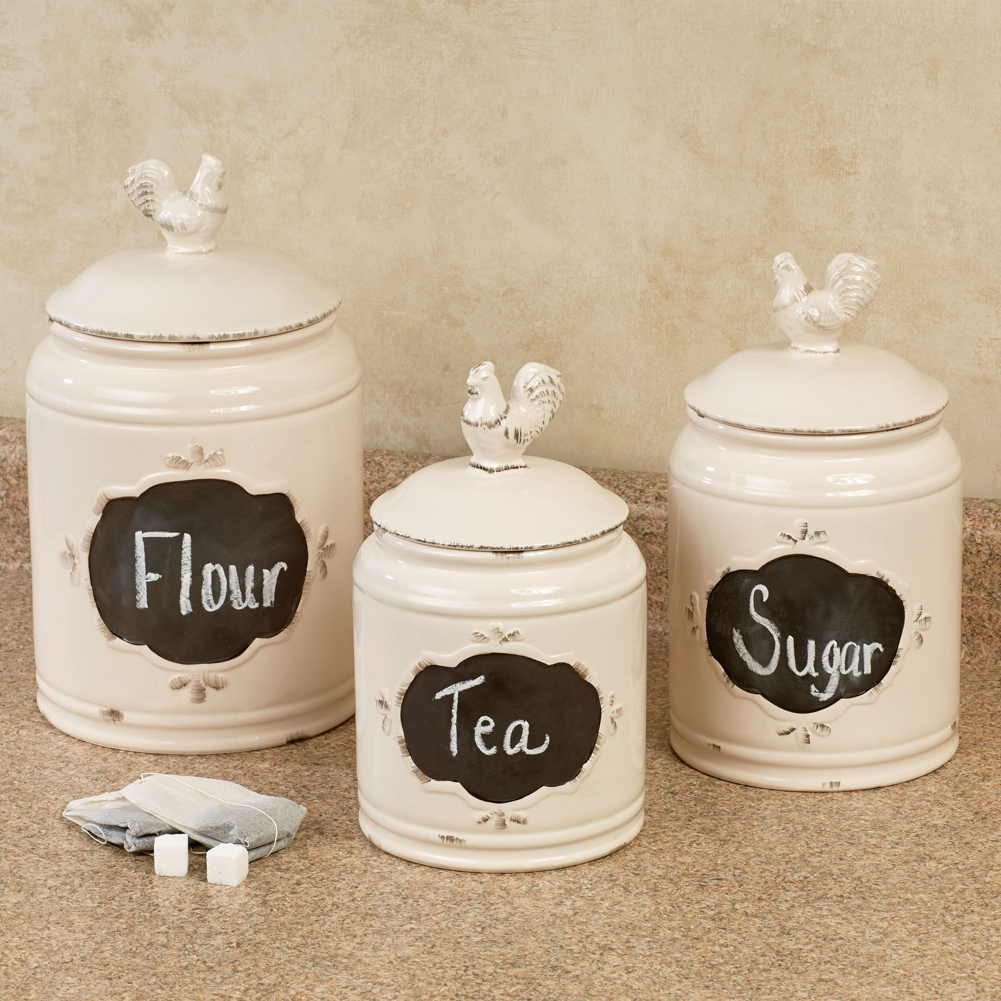 Lovely Antique Rooster Kitchen Canisters Antique White Set Of Three. Click To  Expand