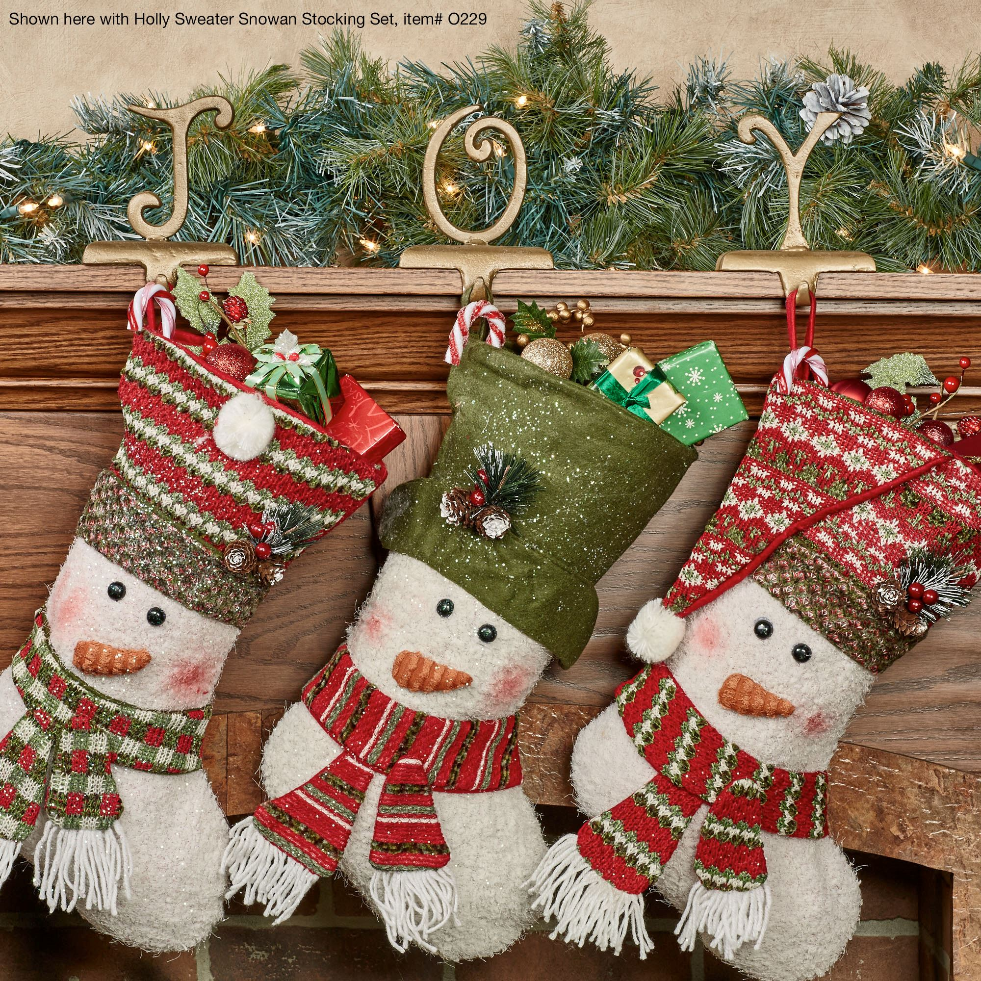 Seasonal golden christmas stocking holder sets