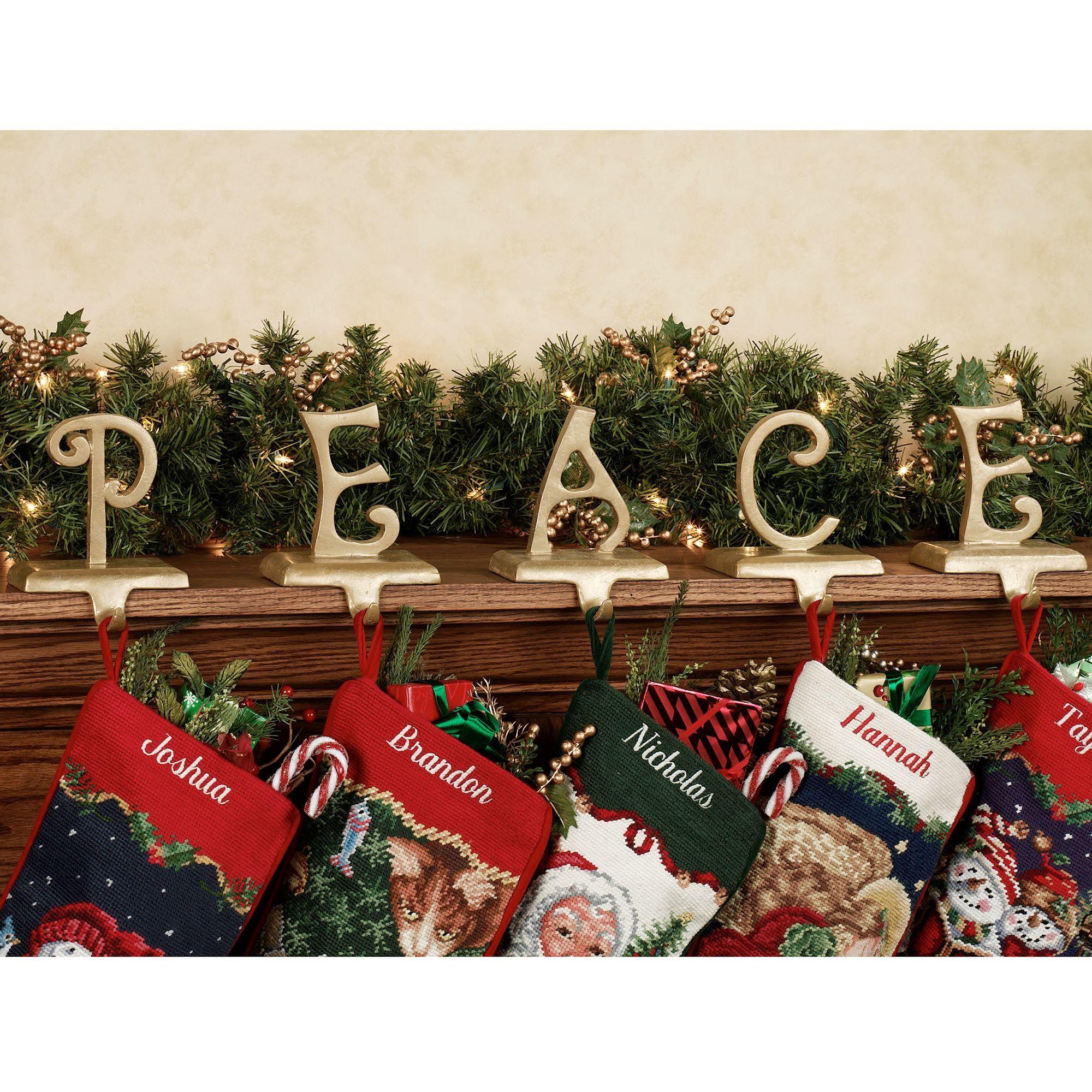 j o y stocking holder set - Decorative Christmas Stocking Holders