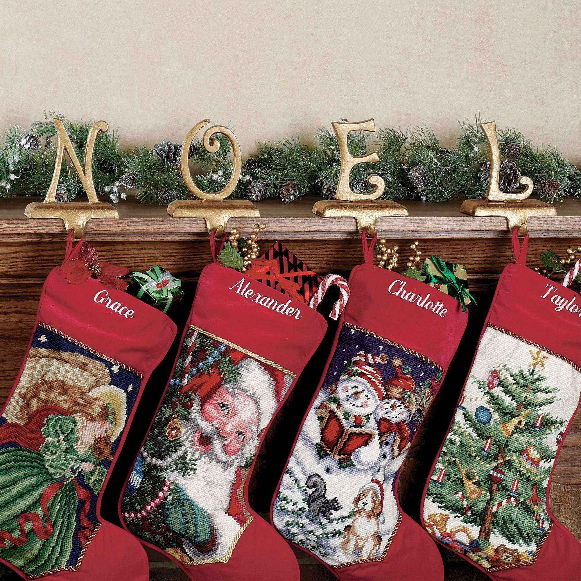 Seasonal christmas golden stocking holder sets