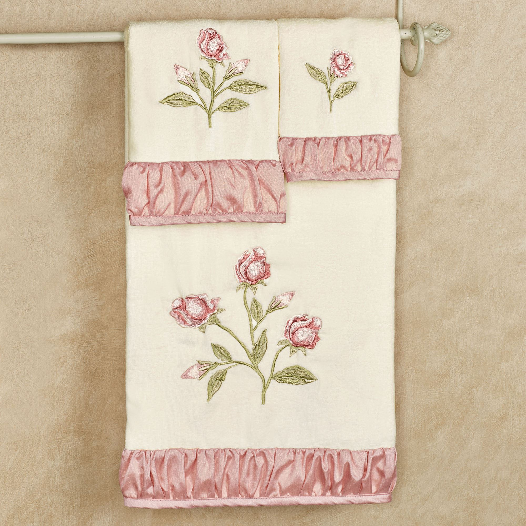 Rose Embroidered Towels: Blush Rose Embroidered Floral Bath Towel Set