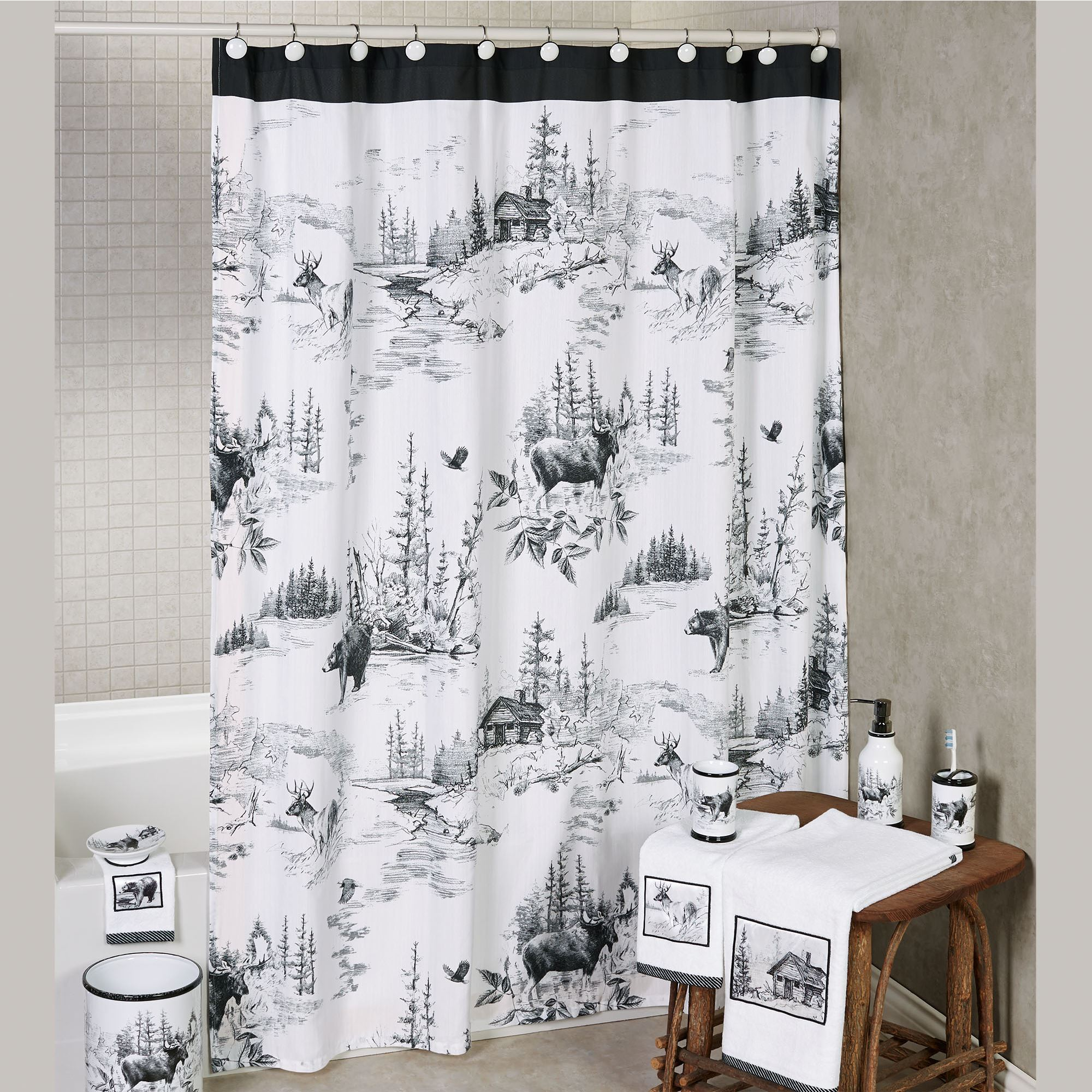 Sketches Shower Curtain Black White 72 X