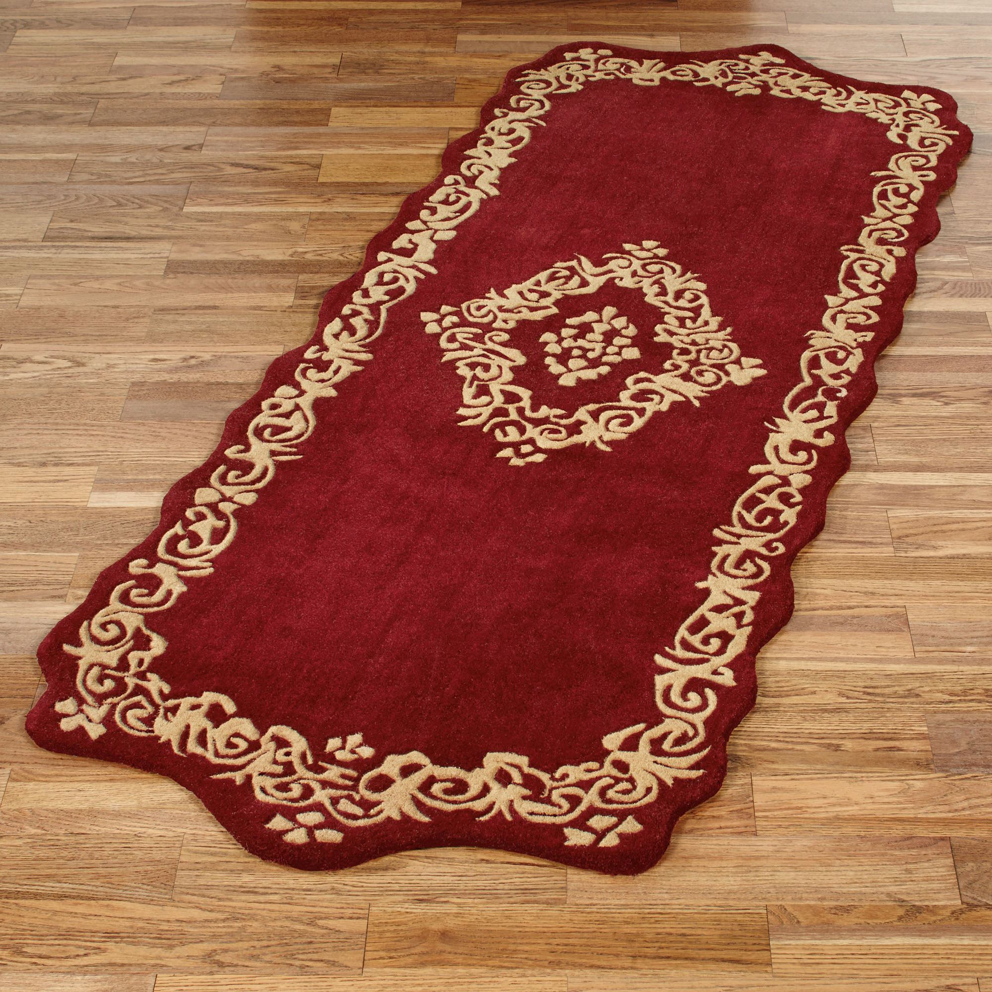 Palatial Ruby Sculpted Rug Runner