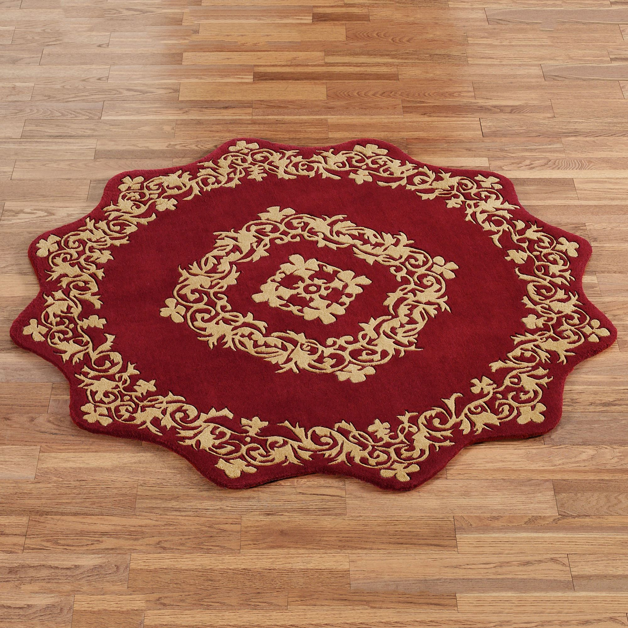 Palatial Ruby Sculpted Wool Round Rug
