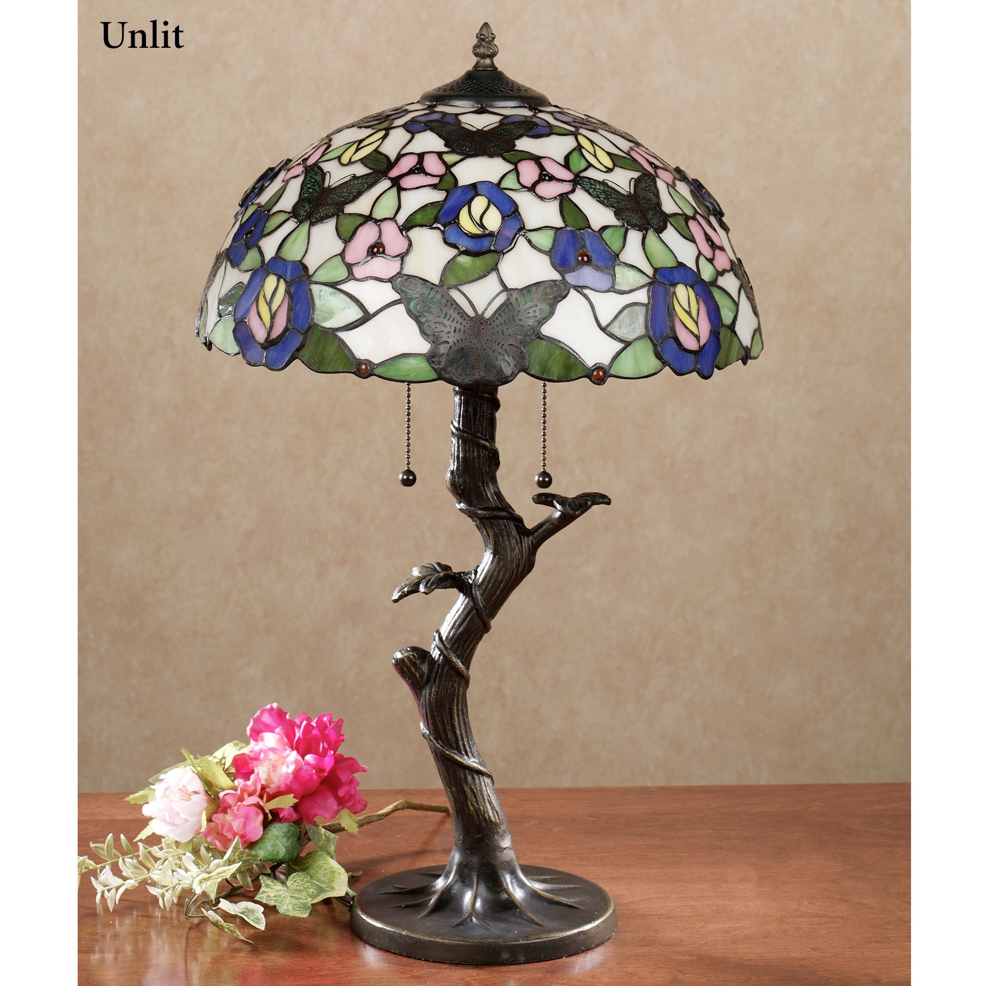 Take flight butterfly floral stained glass table lamp take flight stained glass table lamp with cfl bulbs multi pastel each with cfl b aloadofball Choice Image