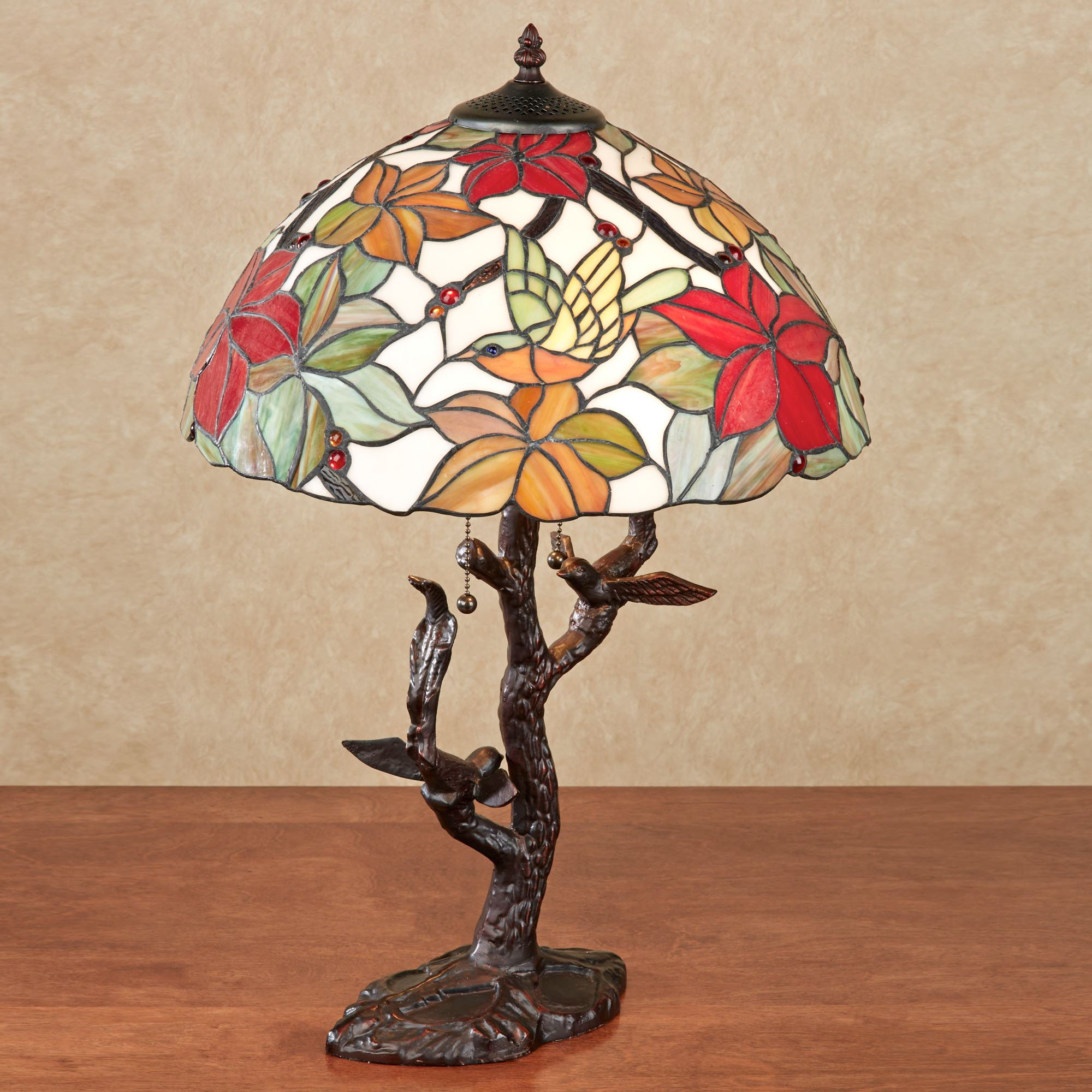 Tropical Passion Floral Stained Glass Lamp