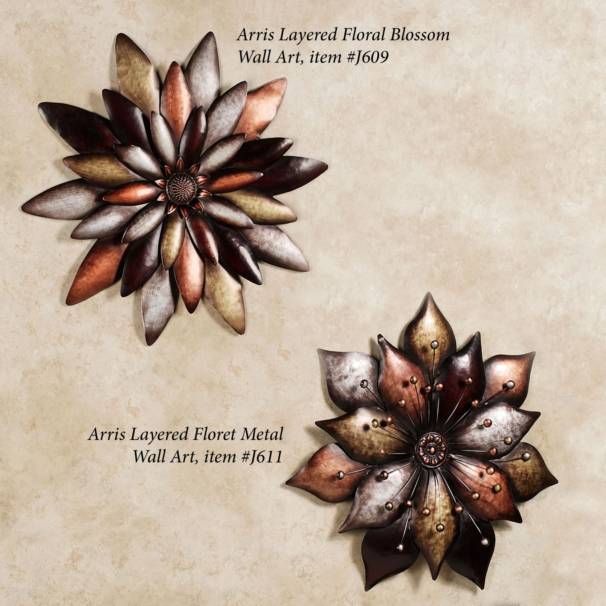 arris layered floral blossom metal wall art