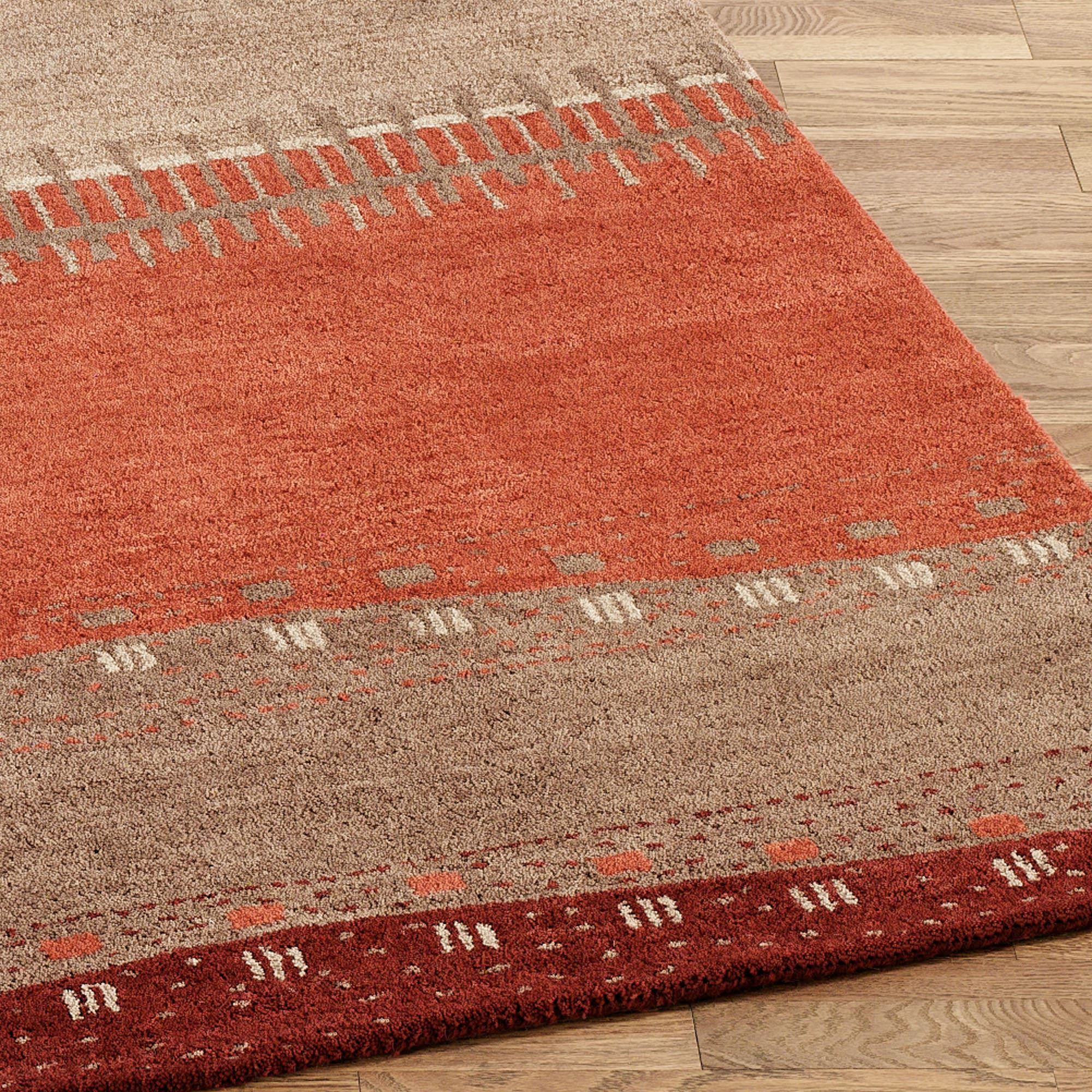 Path In Sand Wool Southwest Area Rugs