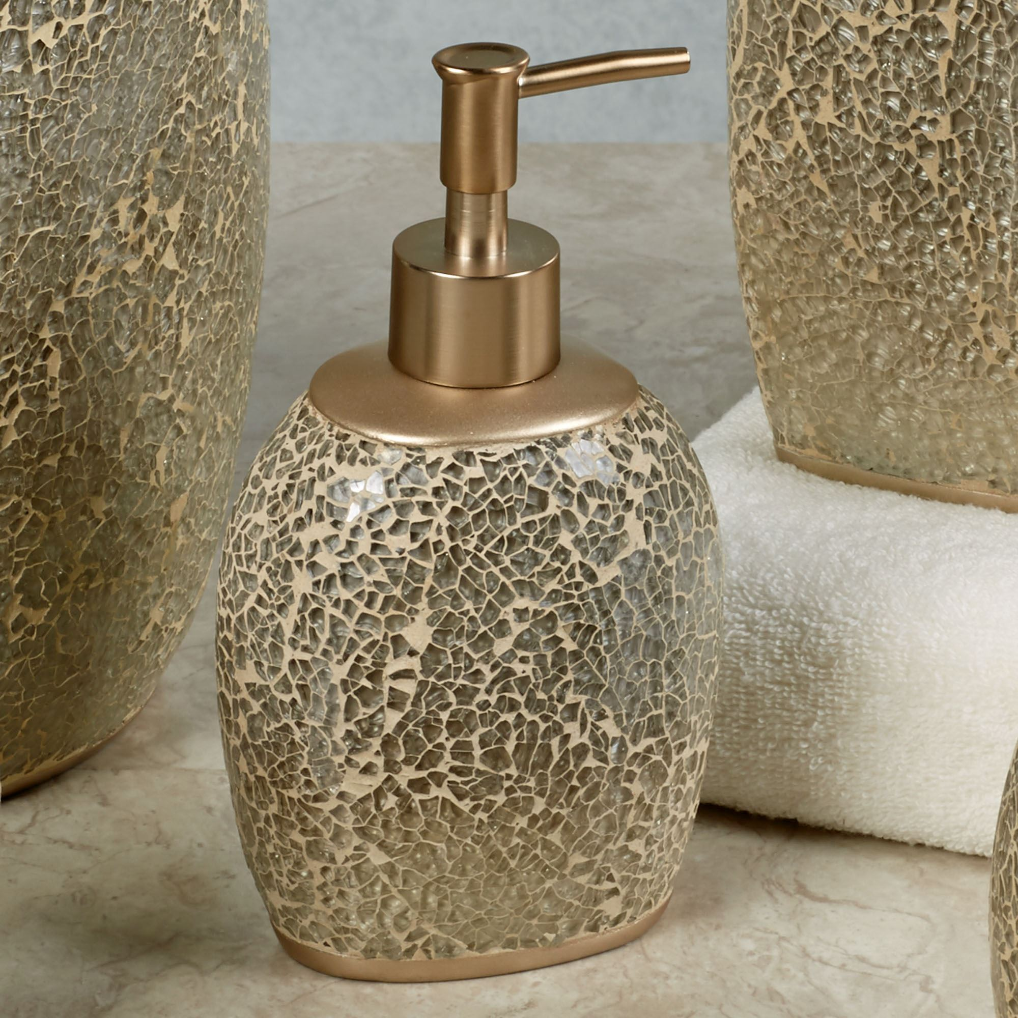 crackle bathroom accessories. Huntington Lotion Soap Dispenser Champagne Mosaic Bath Accessories