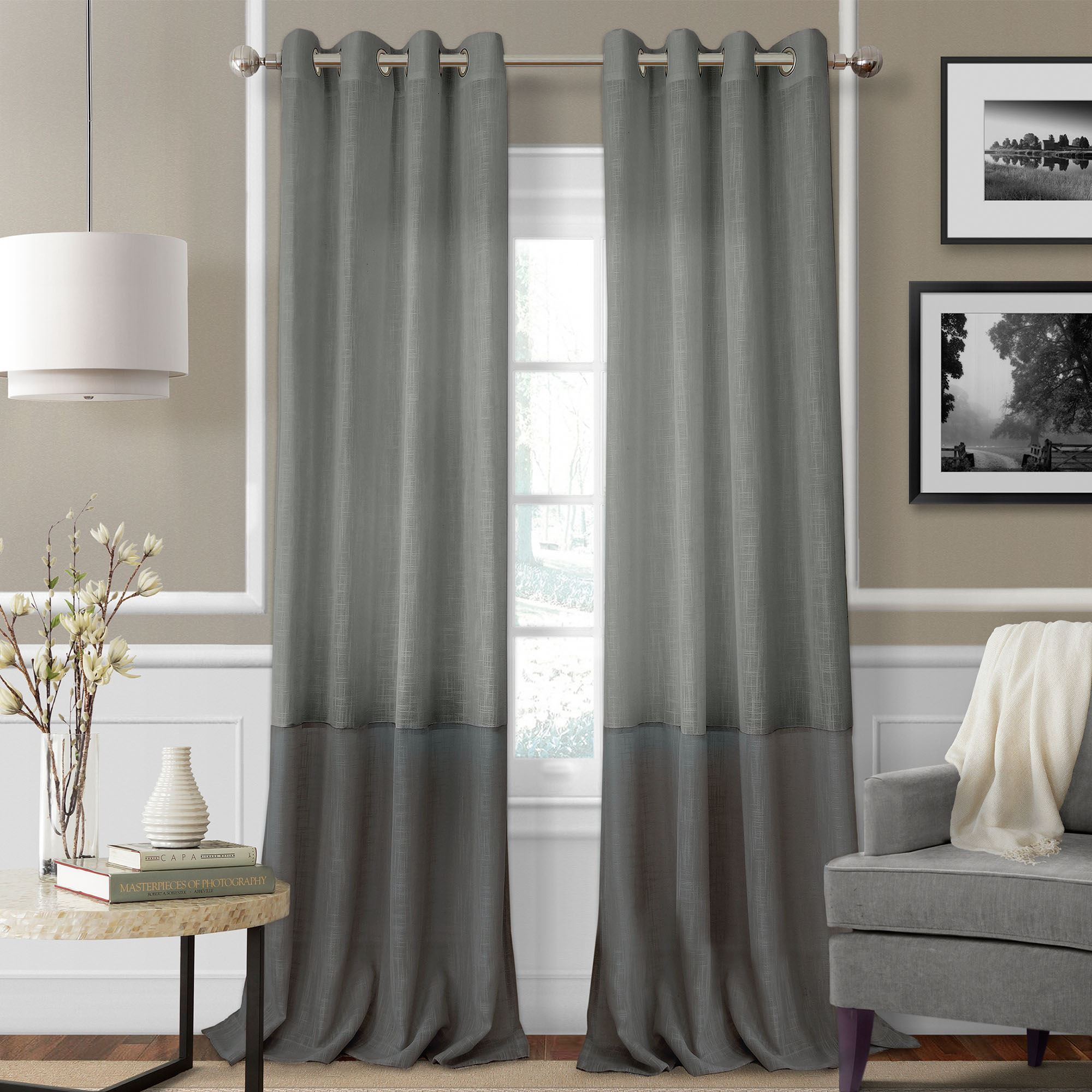 Melody Semi Sheer Grommet Curtain Panels