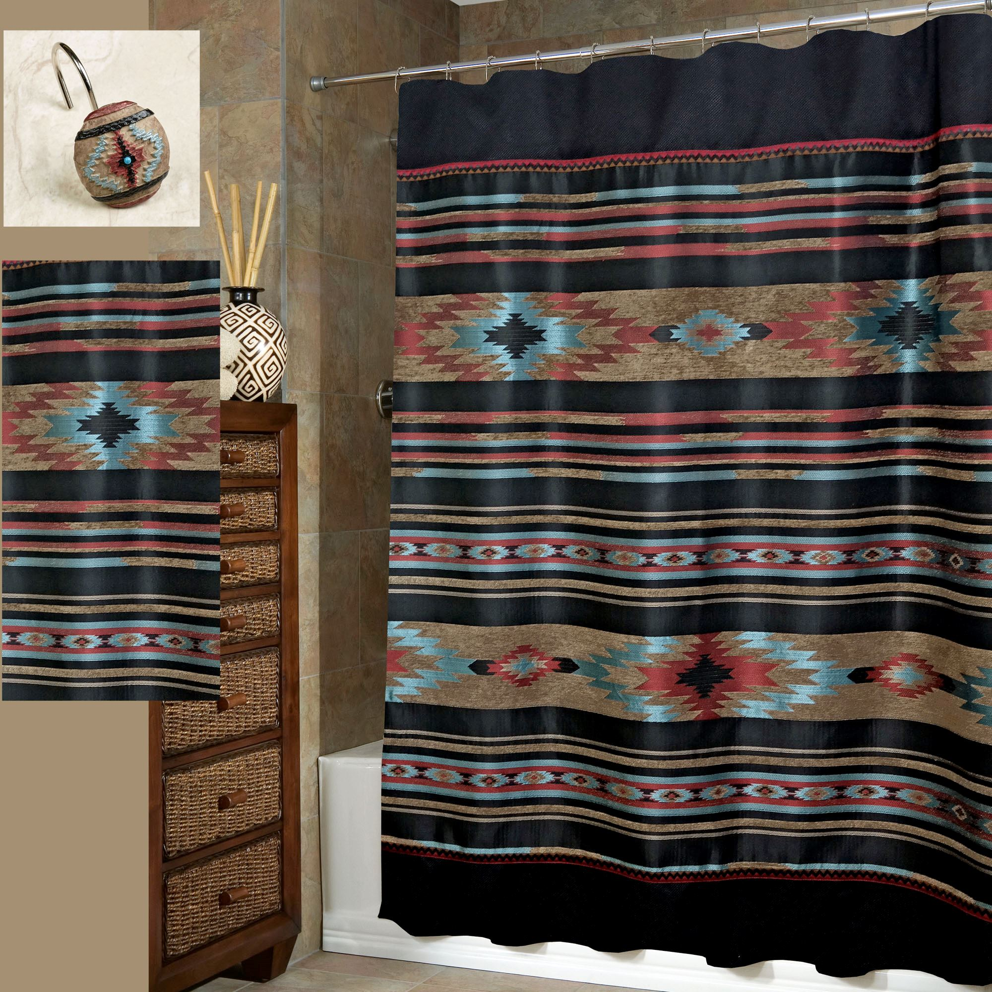 curtain southwestern amazing and design jeweled proportions throughout bath hooks for boho curtains shower x