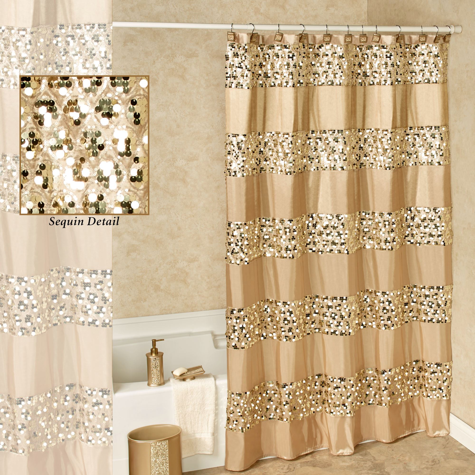 Bathroom Valance Ideas Prestigue Champagne Gold Sequined Shower Curtain
