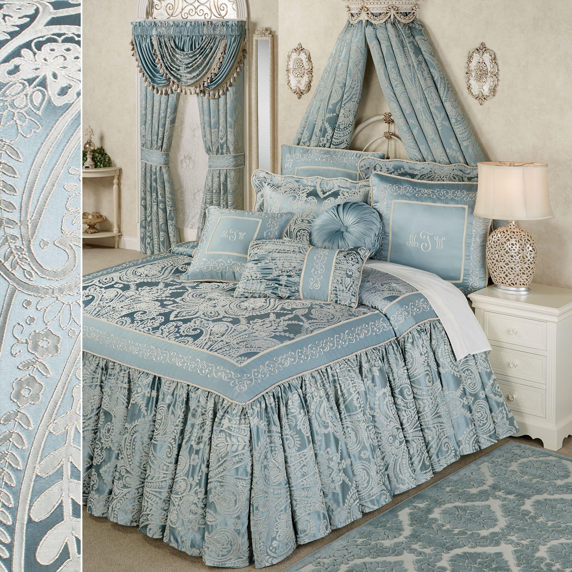 Regency Parisian Blue Flounce Bedspread Bedding