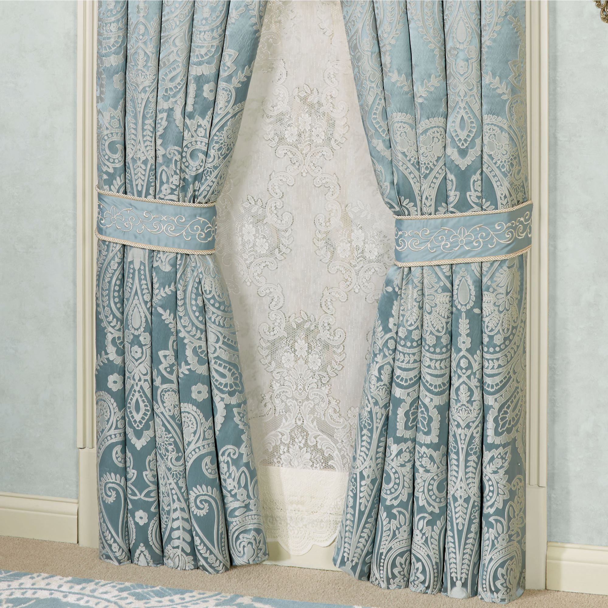 kitchen panel abri dp gray sheer amazon inches silver home curtain royal curtains com waterfall by grommet crushed hotel