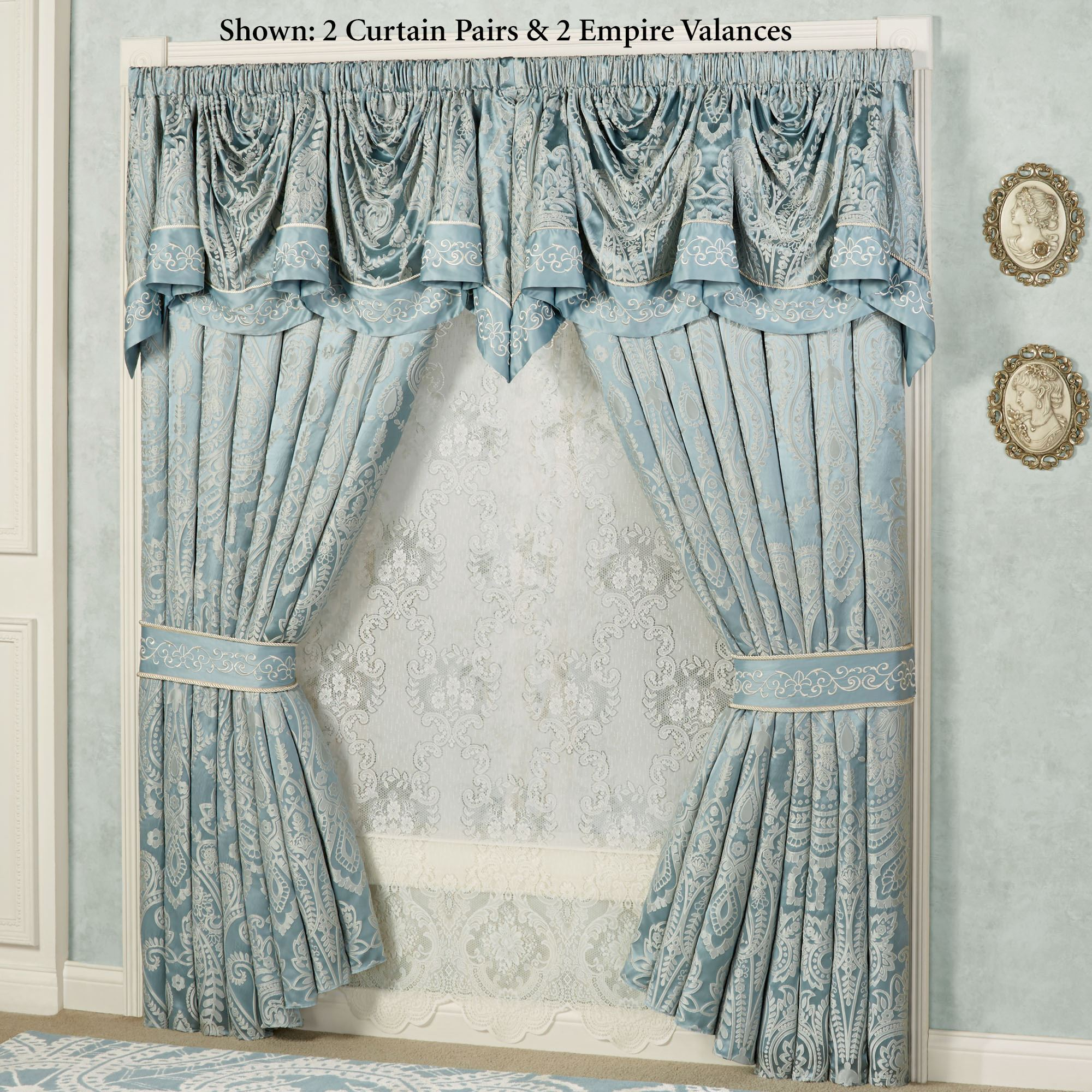 Regency Parisian Blue Empire Valance Window Treatment