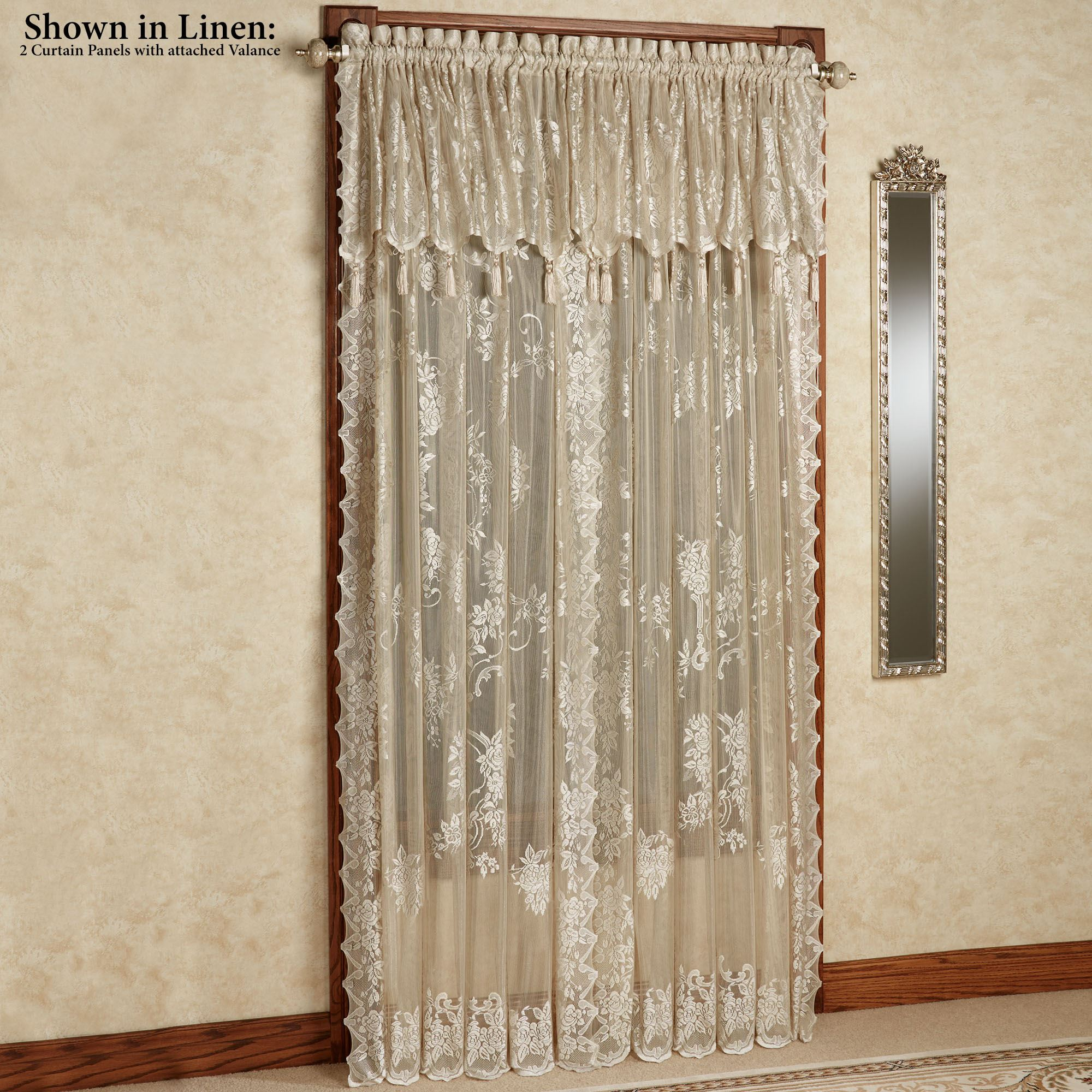 Window With Attached Valance Curtains : Easy style carly lace curtain panel with attached valance