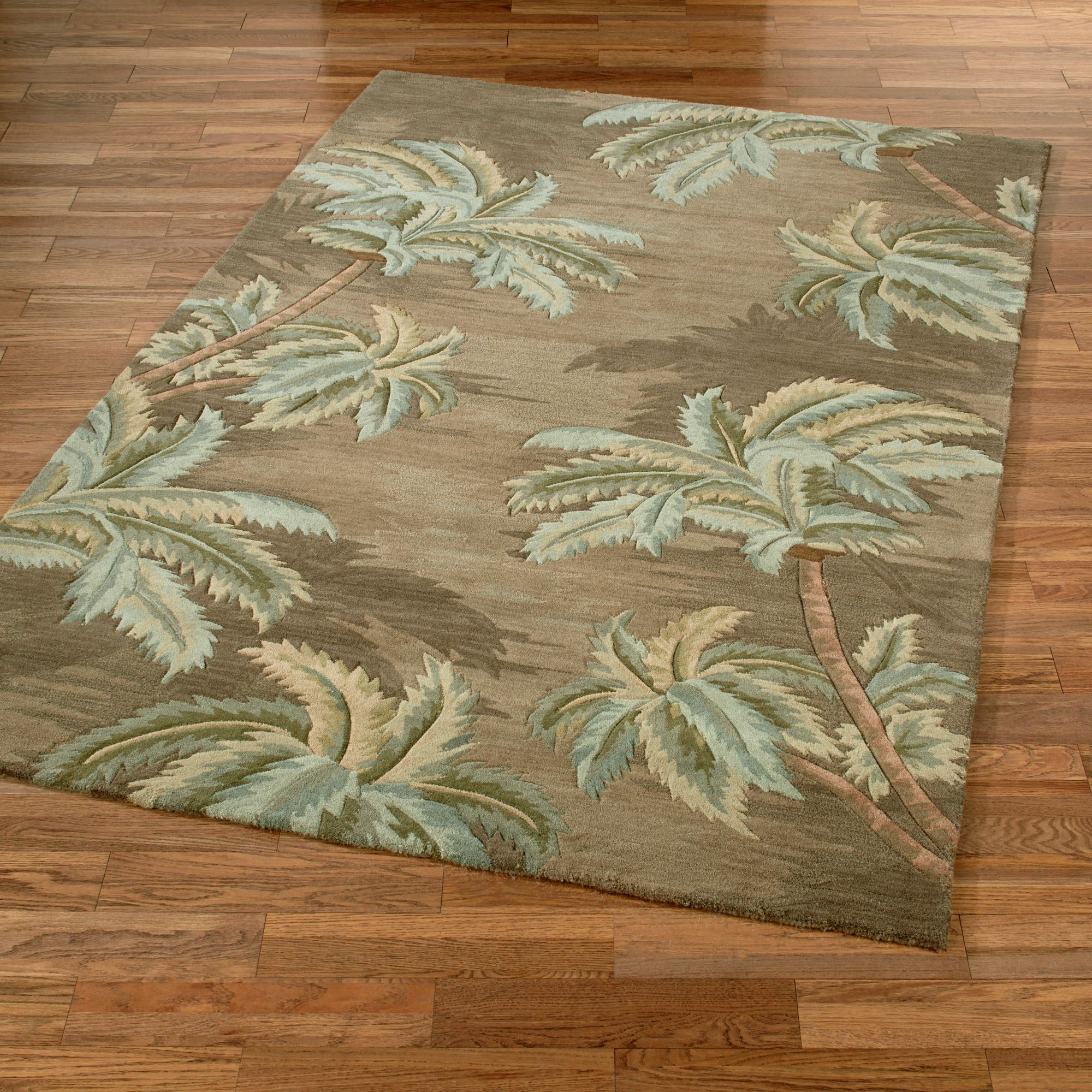 Palm Trees Rectangle Rug Moss