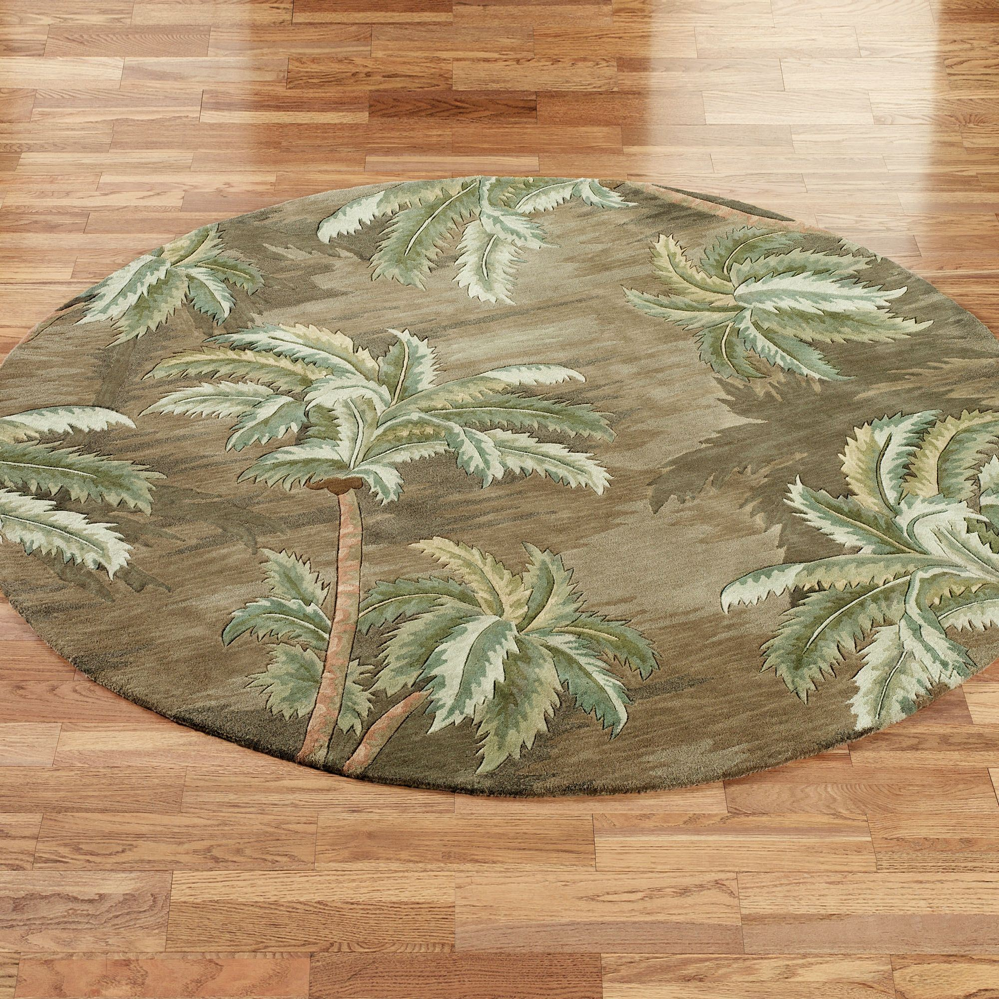 Amazing Palm Trees Round Rug Moss