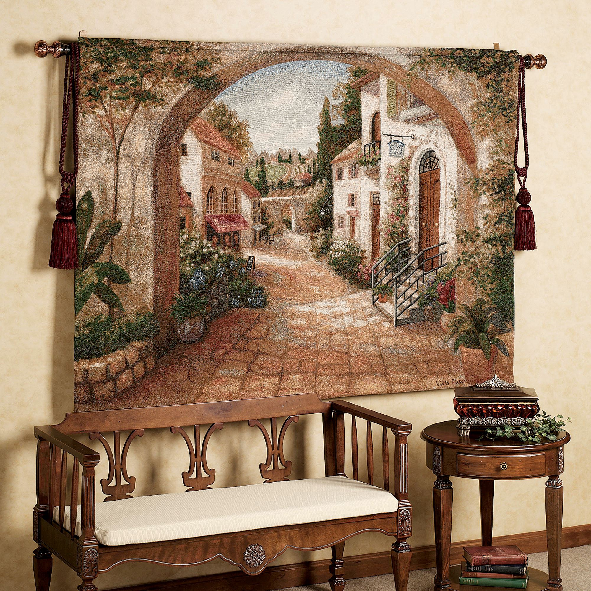 Quaint Town Wall Tapestry Tuscan Vineyards Placemats