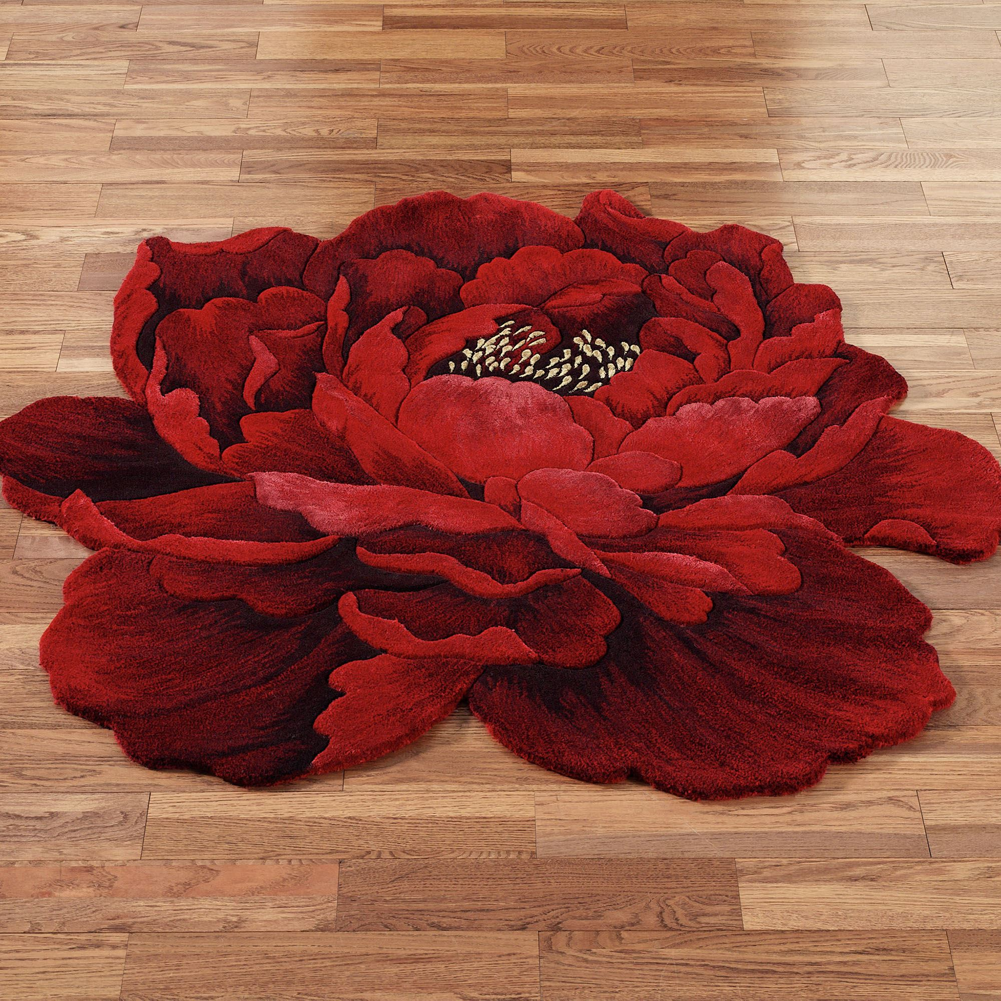 P Shape Shower Bath Scarlet Magic Peony Flower Shaped Round Rugs