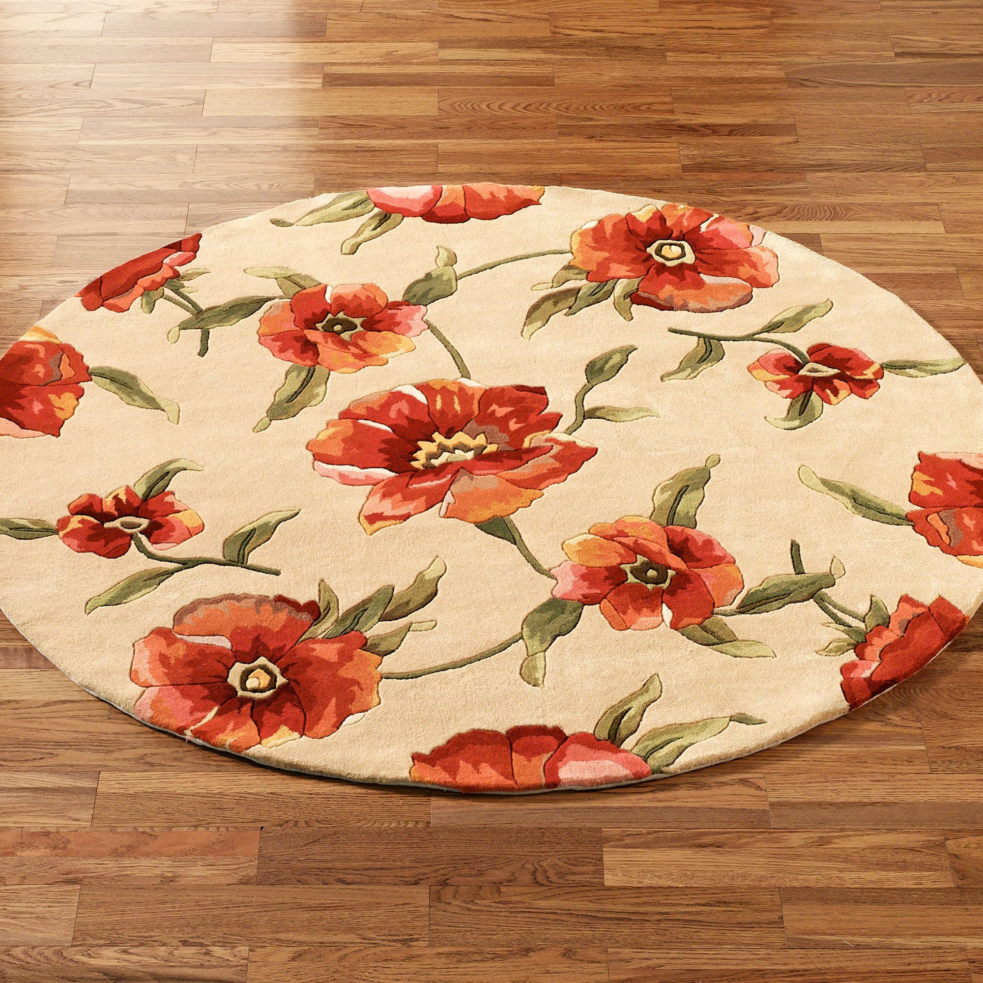 Poppies Round Rug Ivory Orange 56
