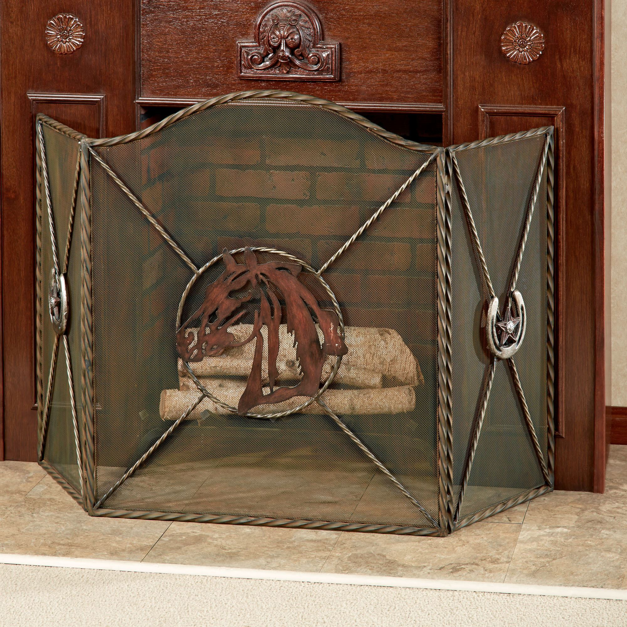 Western Star Horse Themed Metal Fireplace Screen