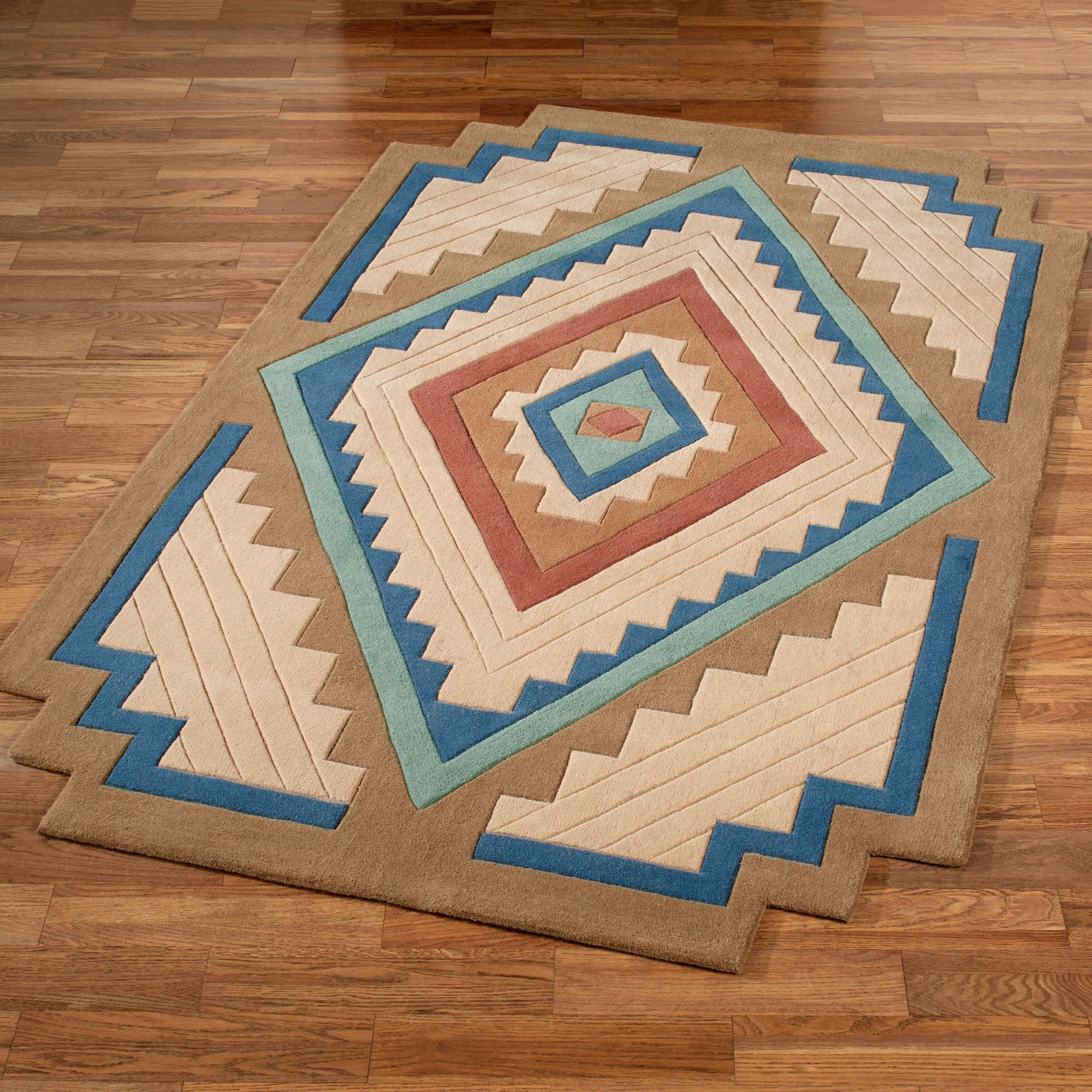 Area Rugs In Dark Turquoise Southwest Design