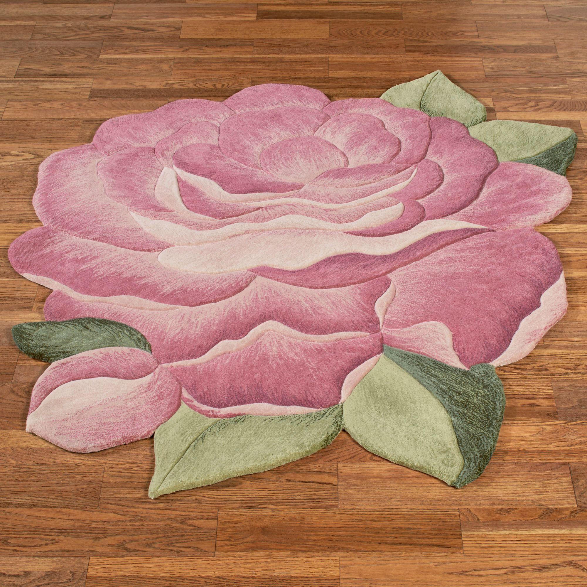 Rose Garden Flower Shaped Rug Pink