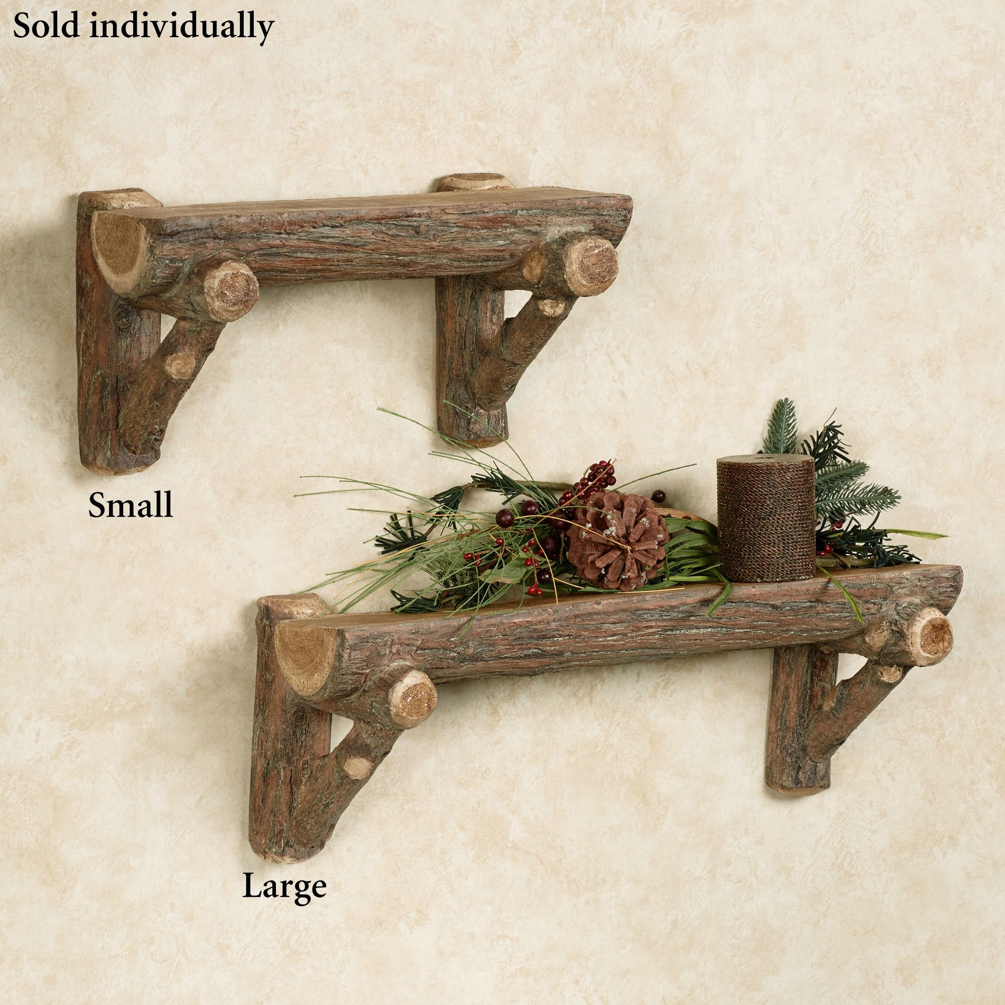 Rustic Timber Faux Log Wall Shelf
