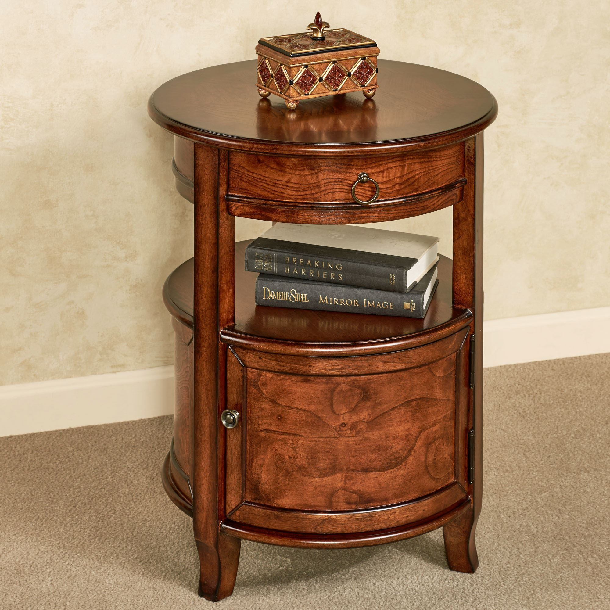 Mabella Round Accent Table Walnut Click To Expand
