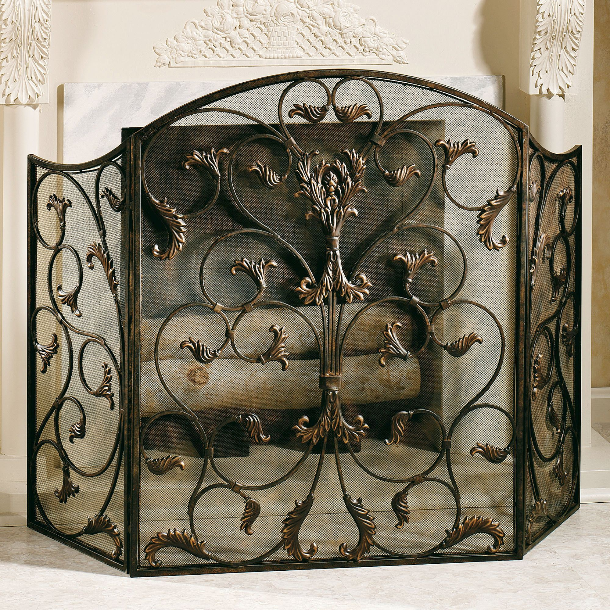 product fireplace home bronze knight kingsport screen overstock christopher shipping today free garden