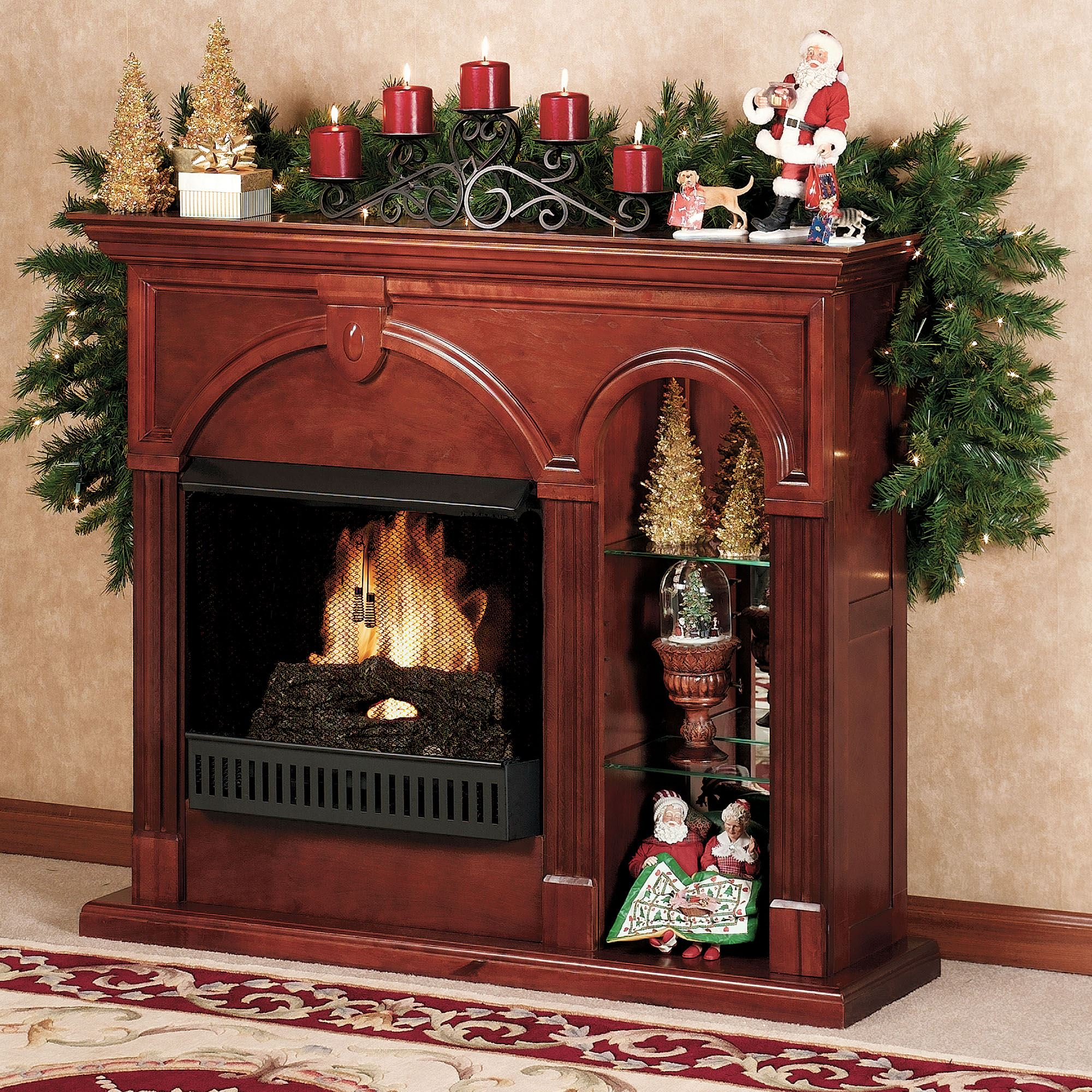 Cambridge Classic Cherry Ventless Fireplace With Lighted Curio