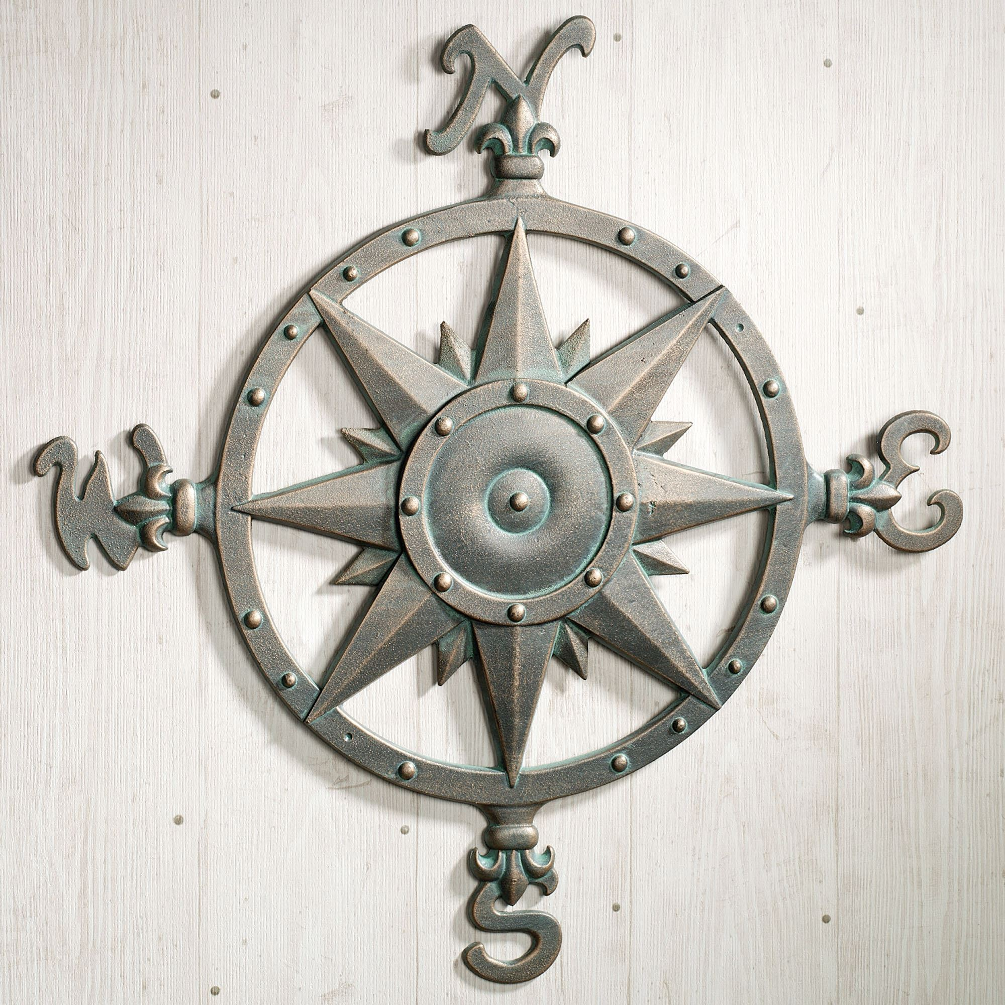 Large Outdoor Metal Wall Art Indoor Outdoor Nautical Compass Metal Wall Art
