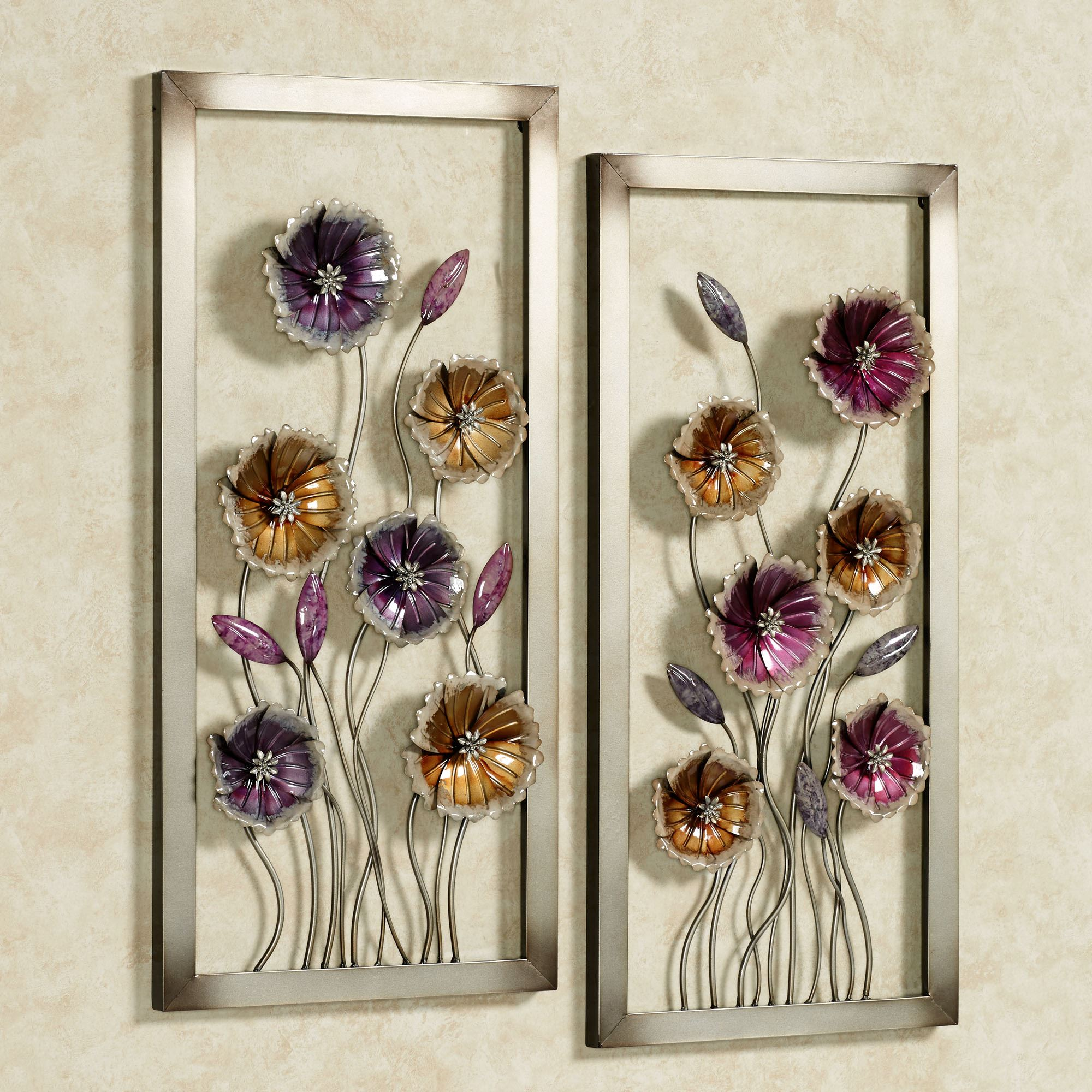 charming floral metal framed wall art set. Black Bedroom Furniture Sets. Home Design Ideas
