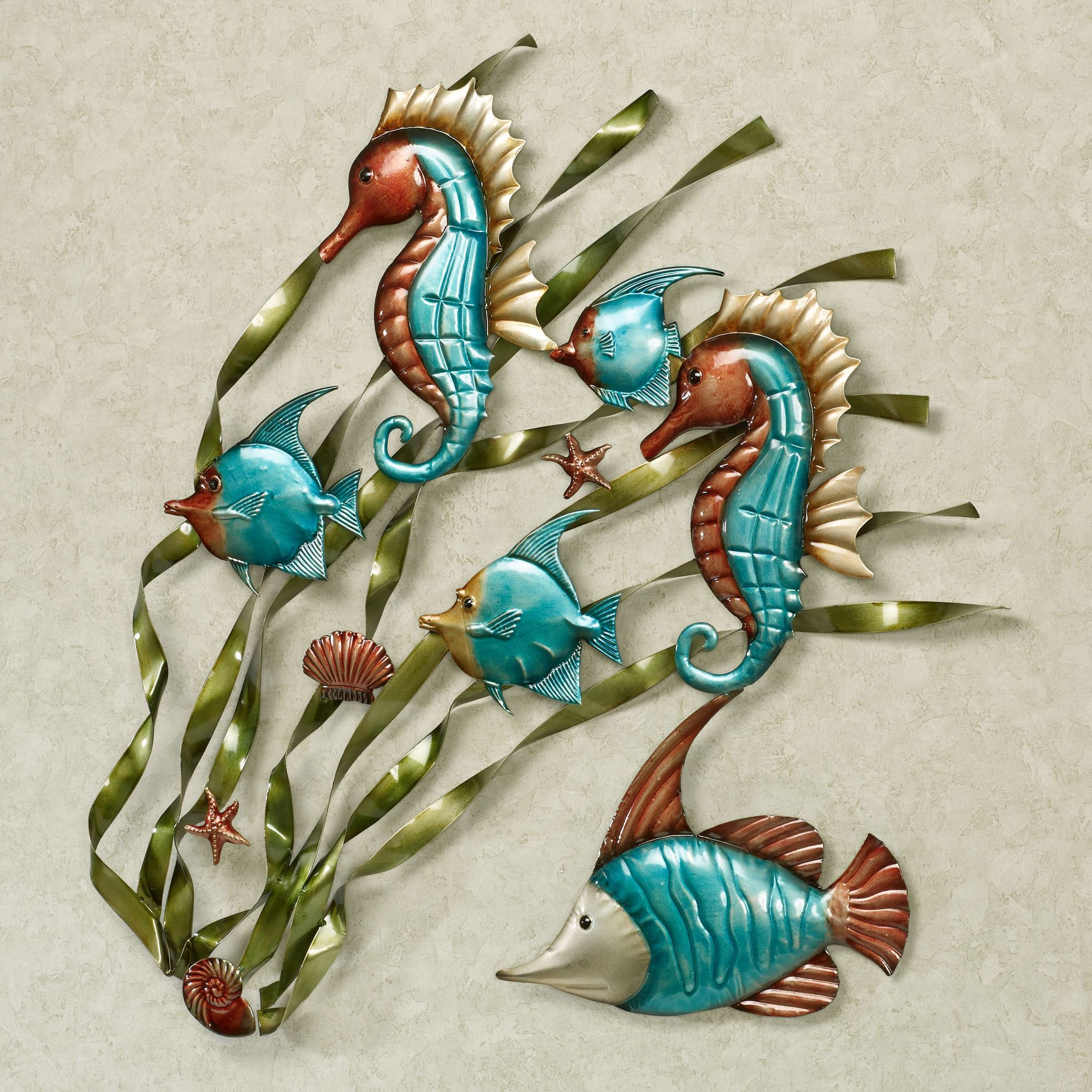 Merveilleux Deep Sea Fish And Seahorse Metal Wall Art