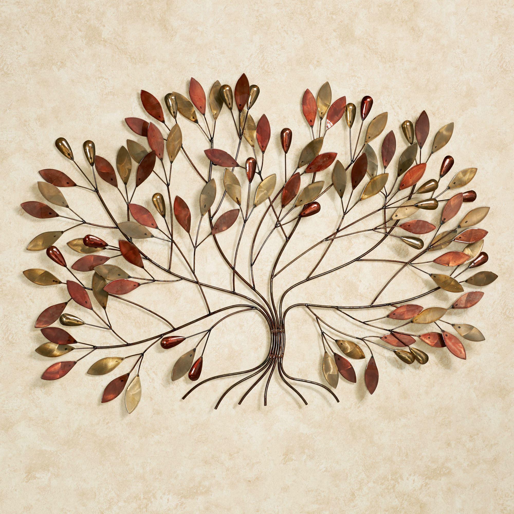 Gentle Breeze Multi Metallic Fall Tree Metal Wall Art