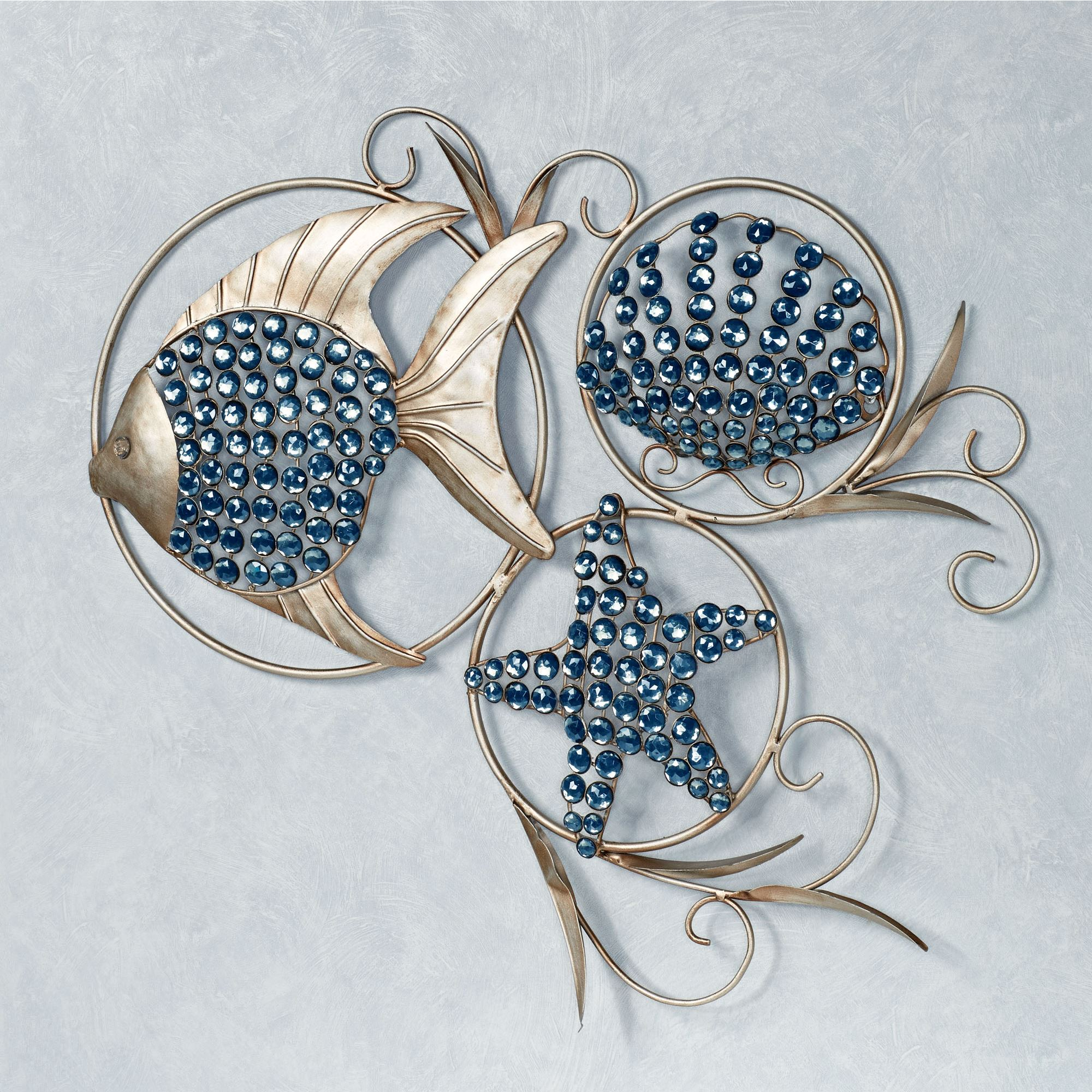 Blue Metal Wall Art Unique Ocean Gems Fish And Seashell Metal Wall Art Design Decoration
