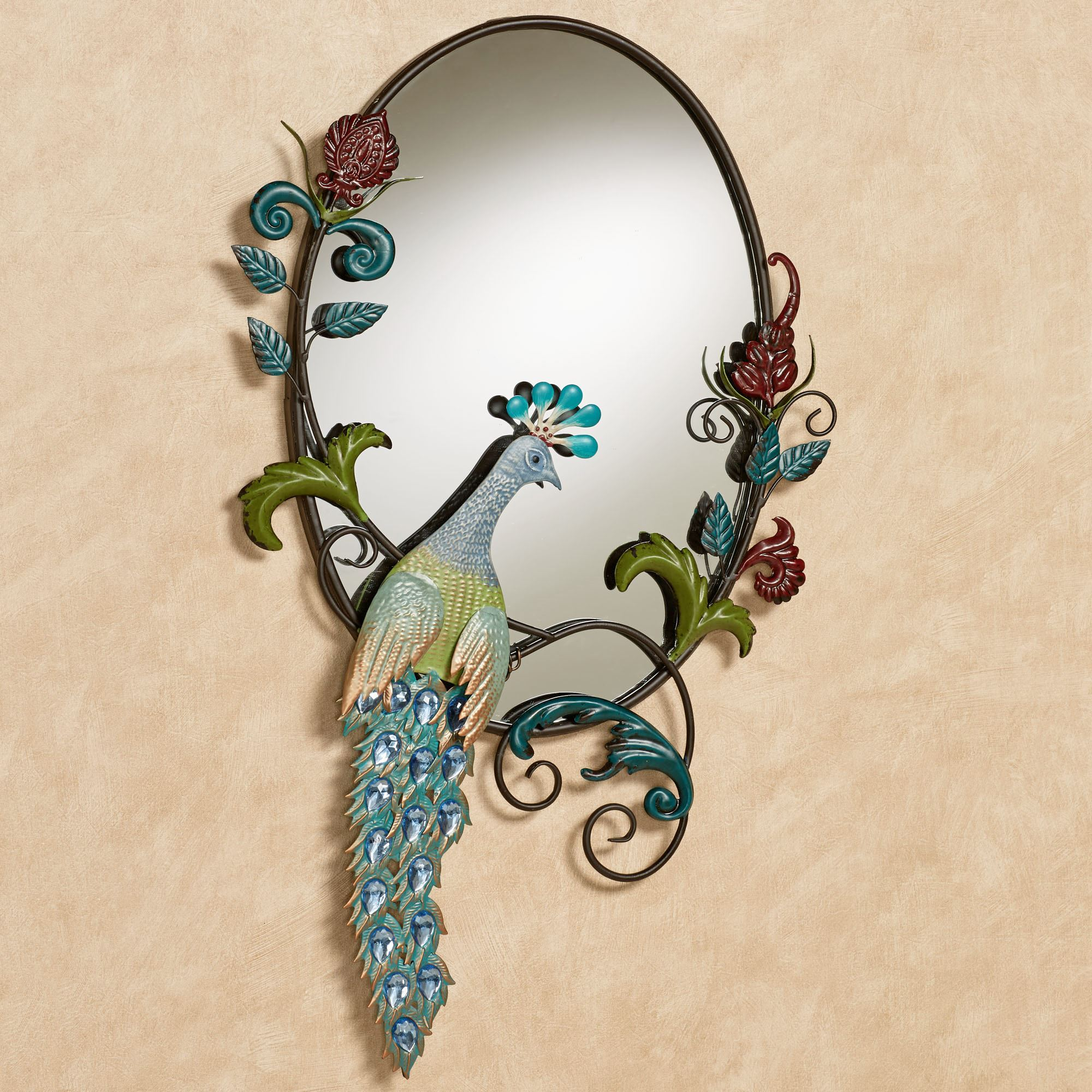 Beau Glorious Peacock Wall Mirror Multi Jewel. Click To Expand