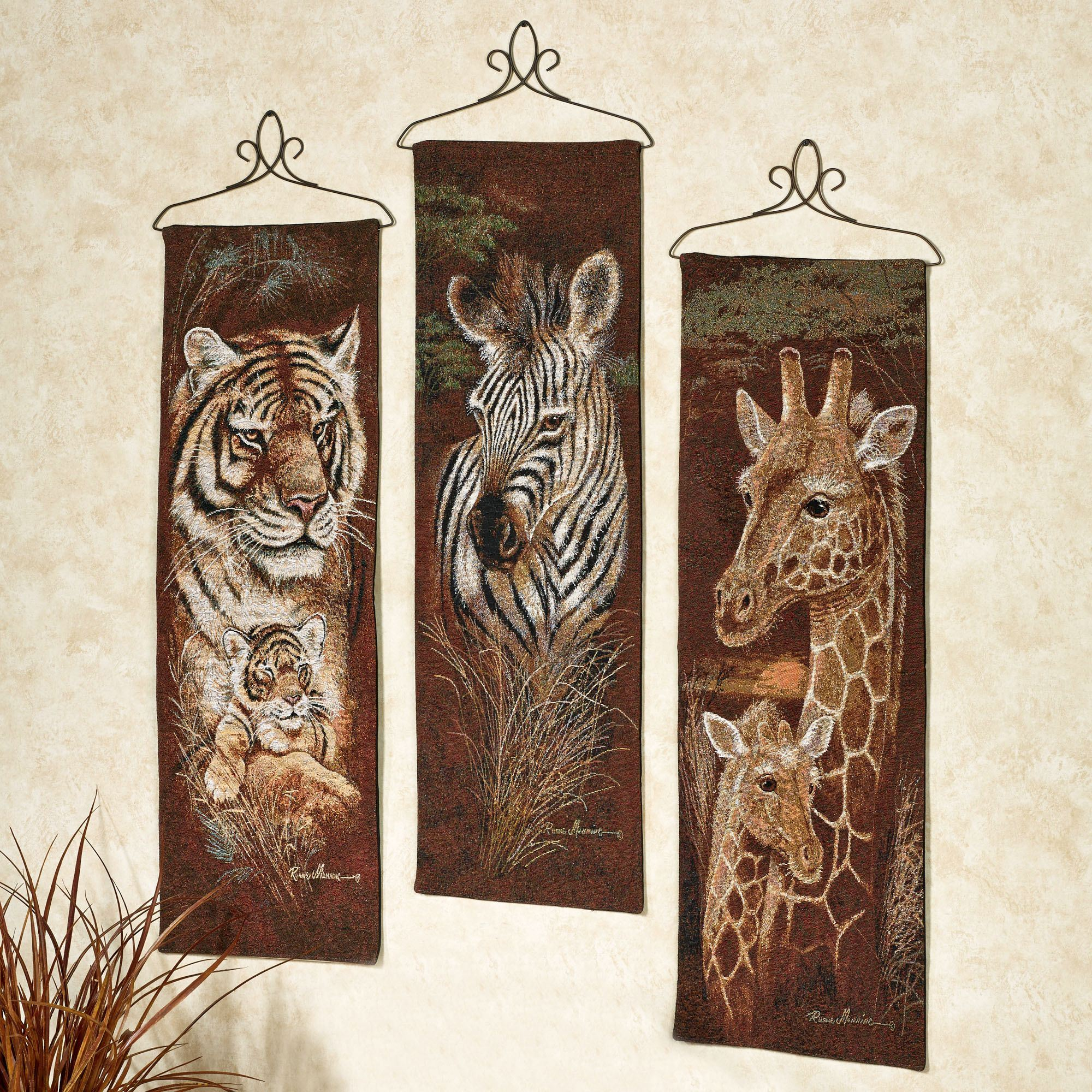 Safari Animal Wall Tapestry Panel Set
