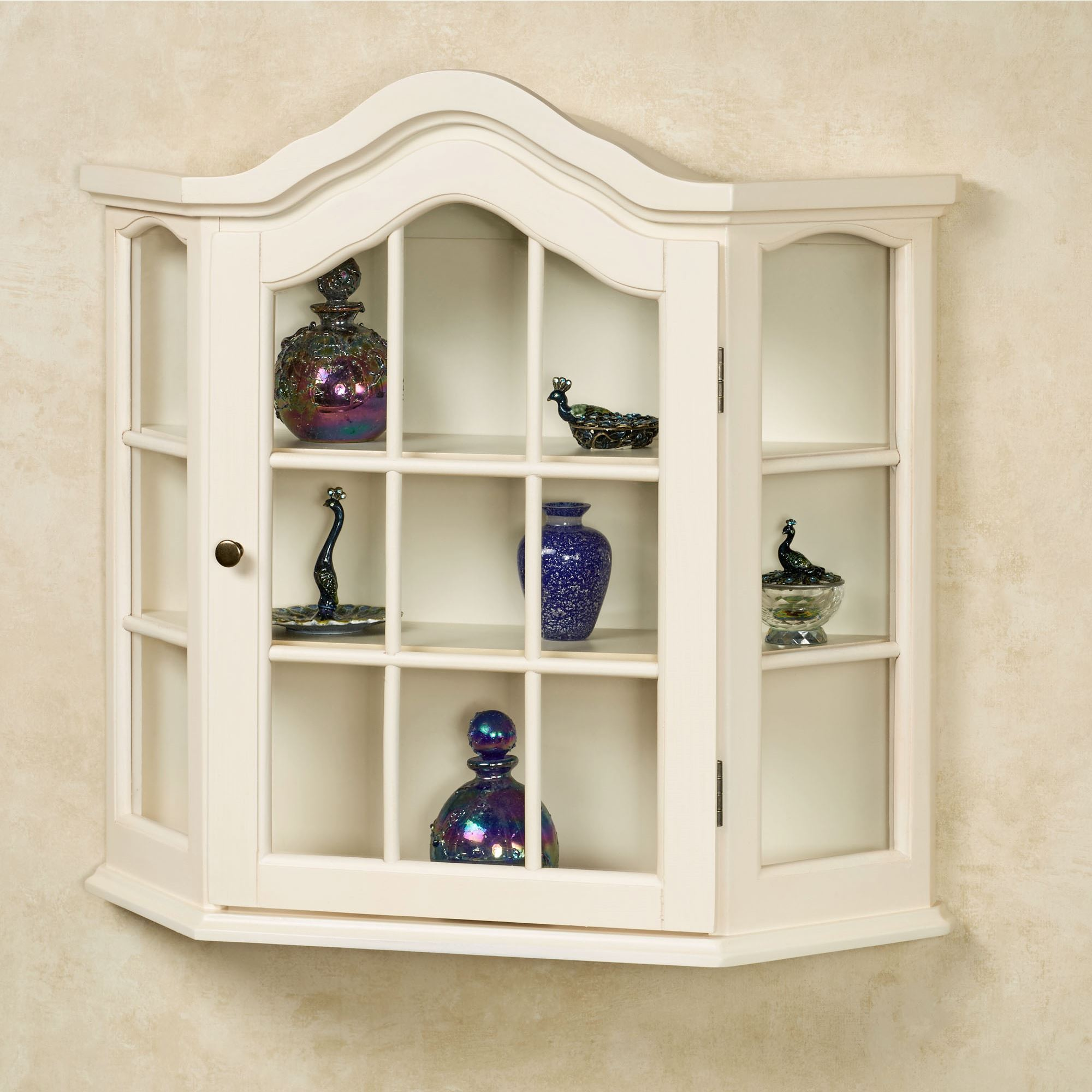 Amelia Wooden Wall Curio Cabinet Whitewash Touch To Zoom