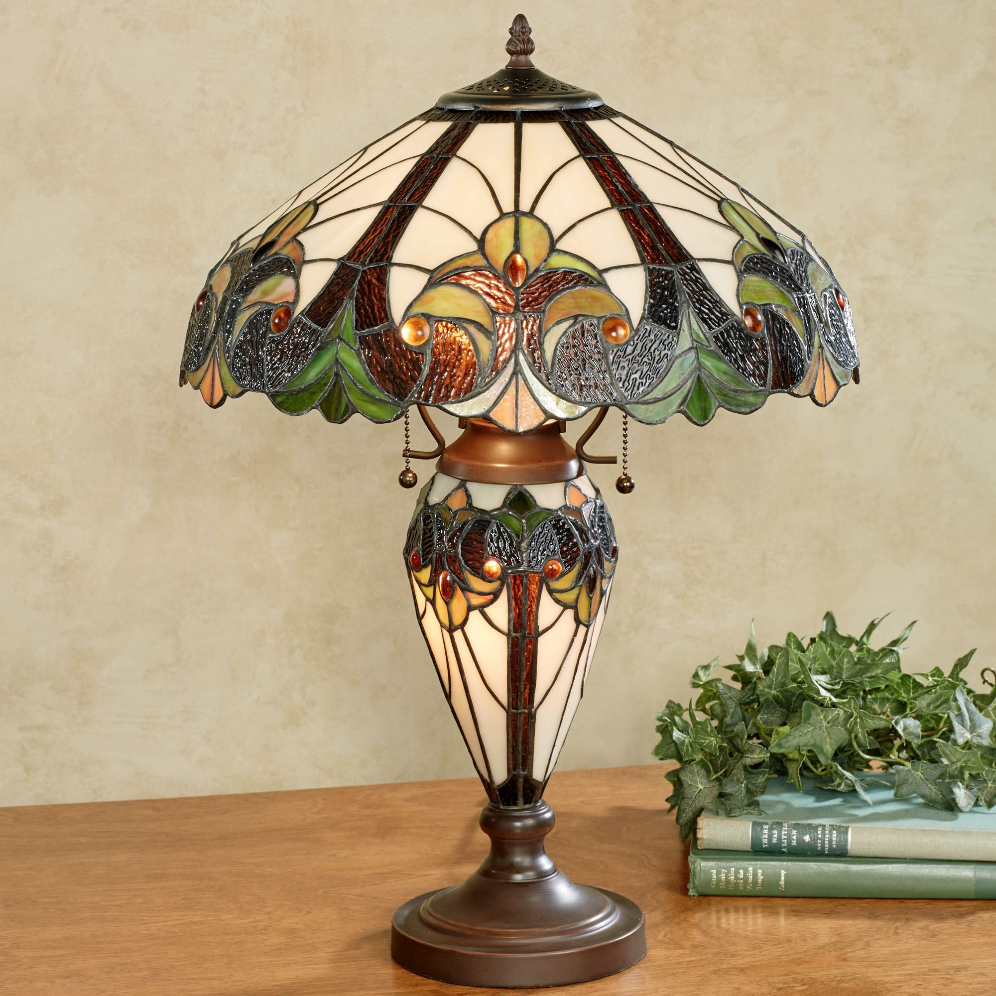 Amazing Clavillia Stained Glass Table Lamp Hunter Green. Click To Expand