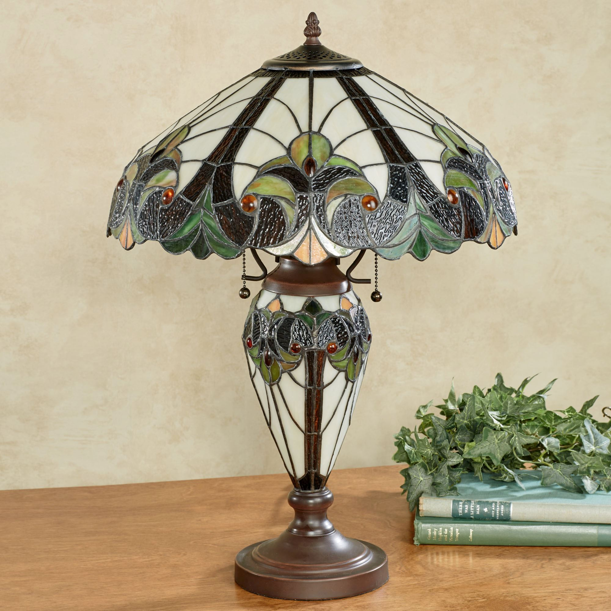 Clavillia stained glass table lamp clavillia stained glass table lamp hunter green each with cfl bulb aloadofball Choice Image