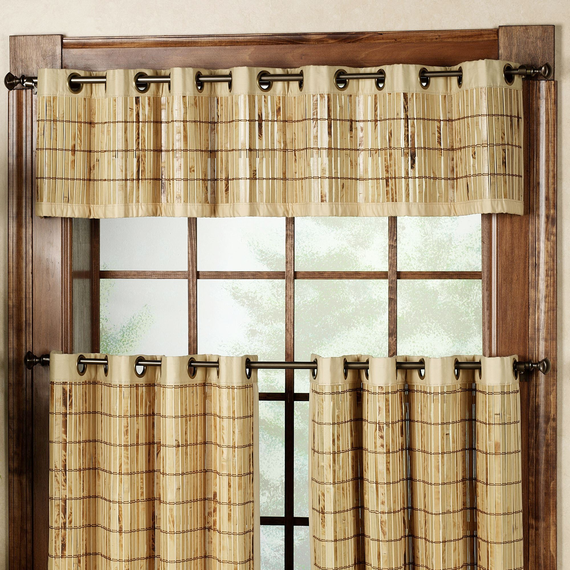 Bamboo grommet tier and valance window treatment for 12 x 72 window