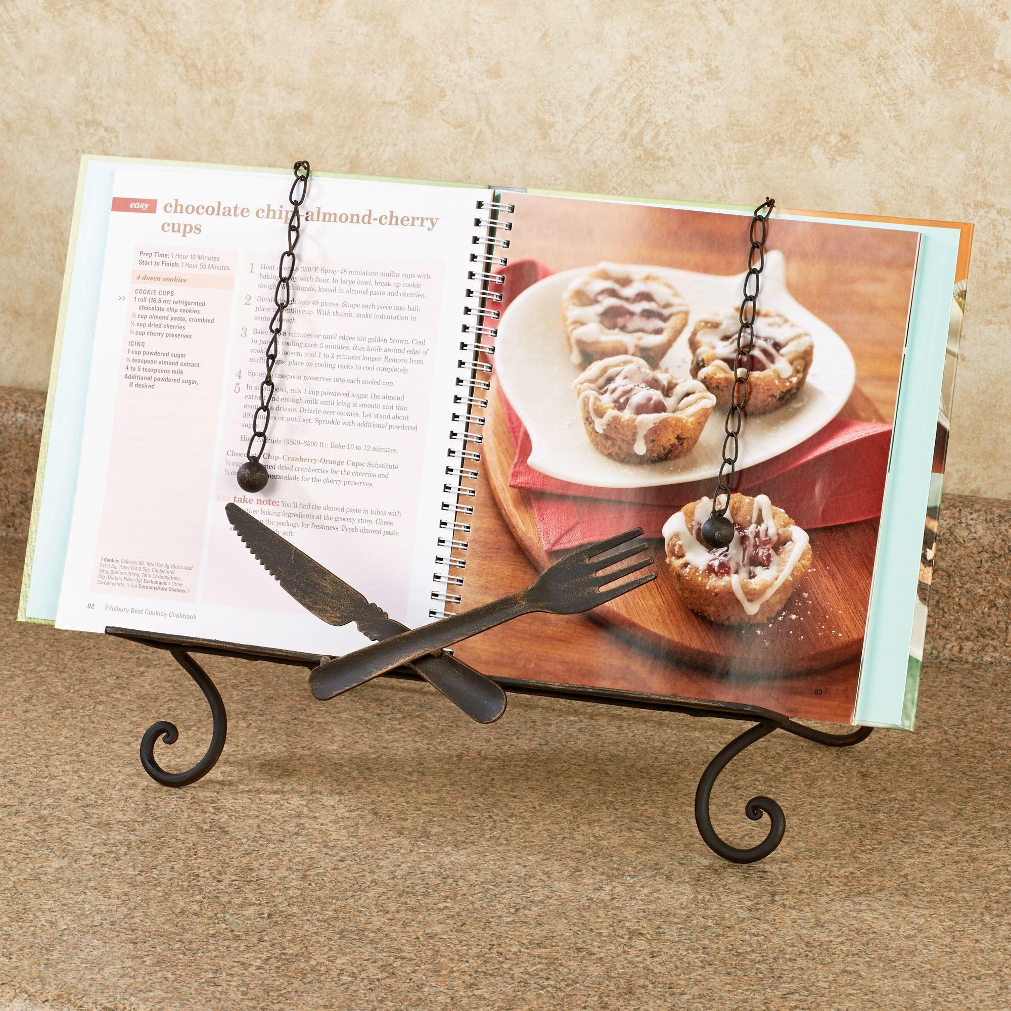 bon appetit fork and knife kitchen cookbook stand. Black Bedroom Furniture Sets. Home Design Ideas