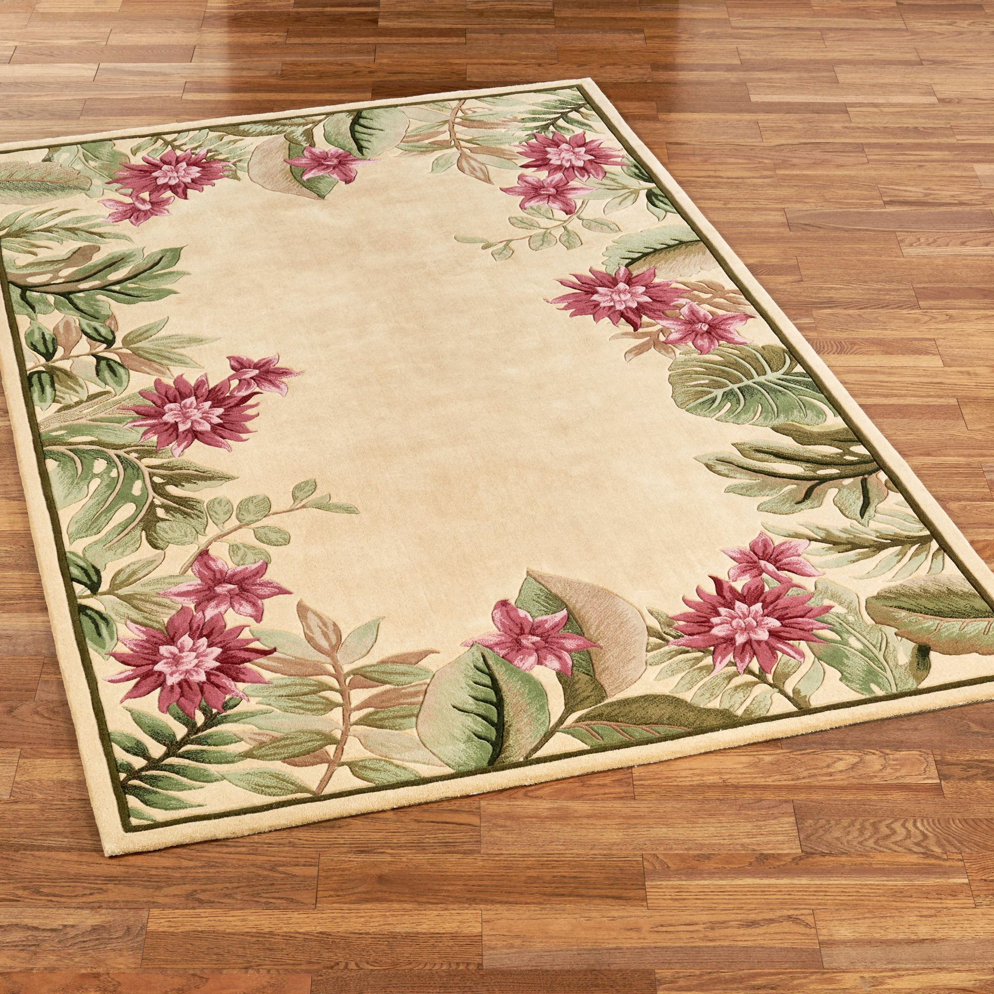 Tropical haven floral area rugs for Area carpets and rugs