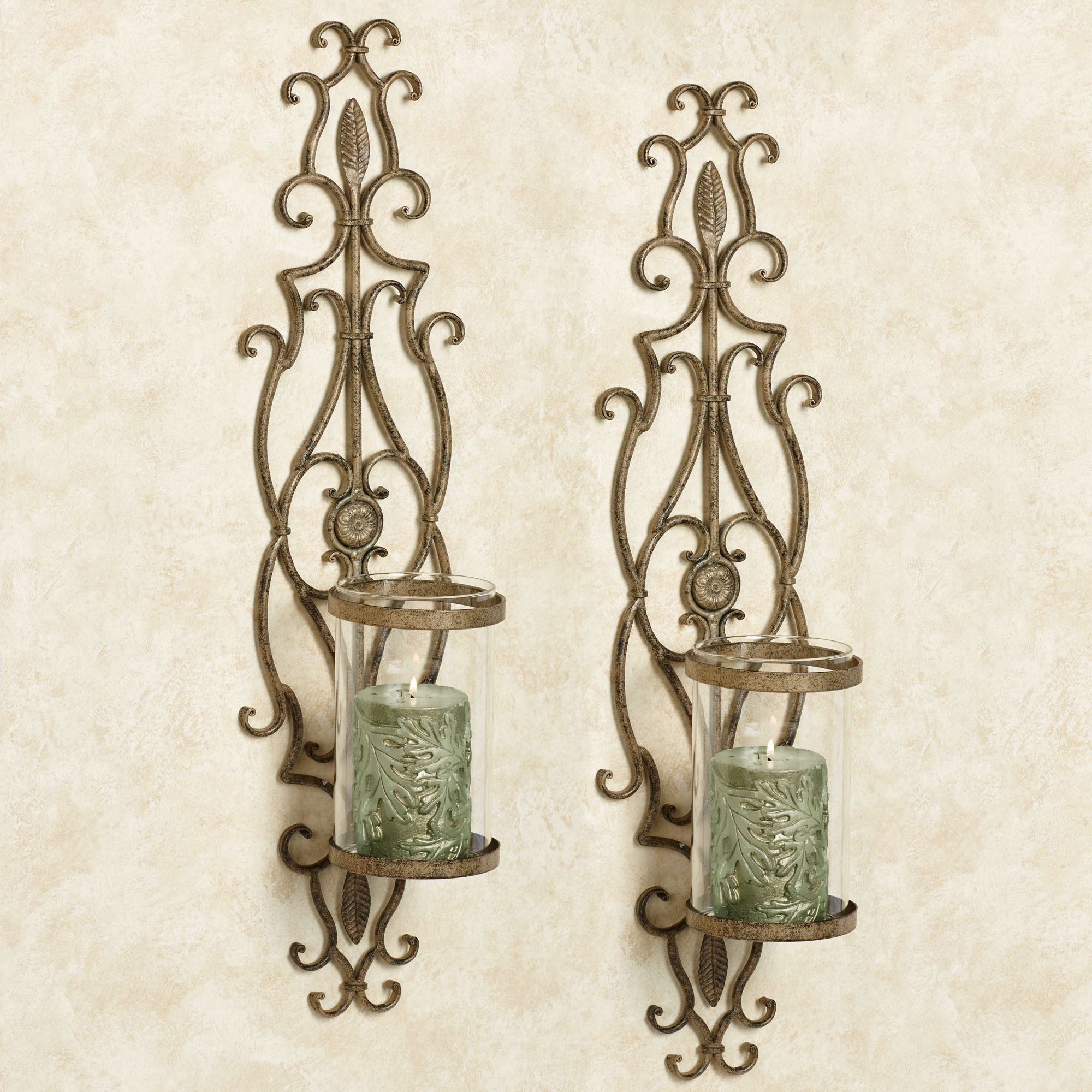 Patton Wall Sconces Antique Gold Pair. Touch to zoom  sc 1 st  Touch of Class & Patton Antique Gold Wall Sconce Pair