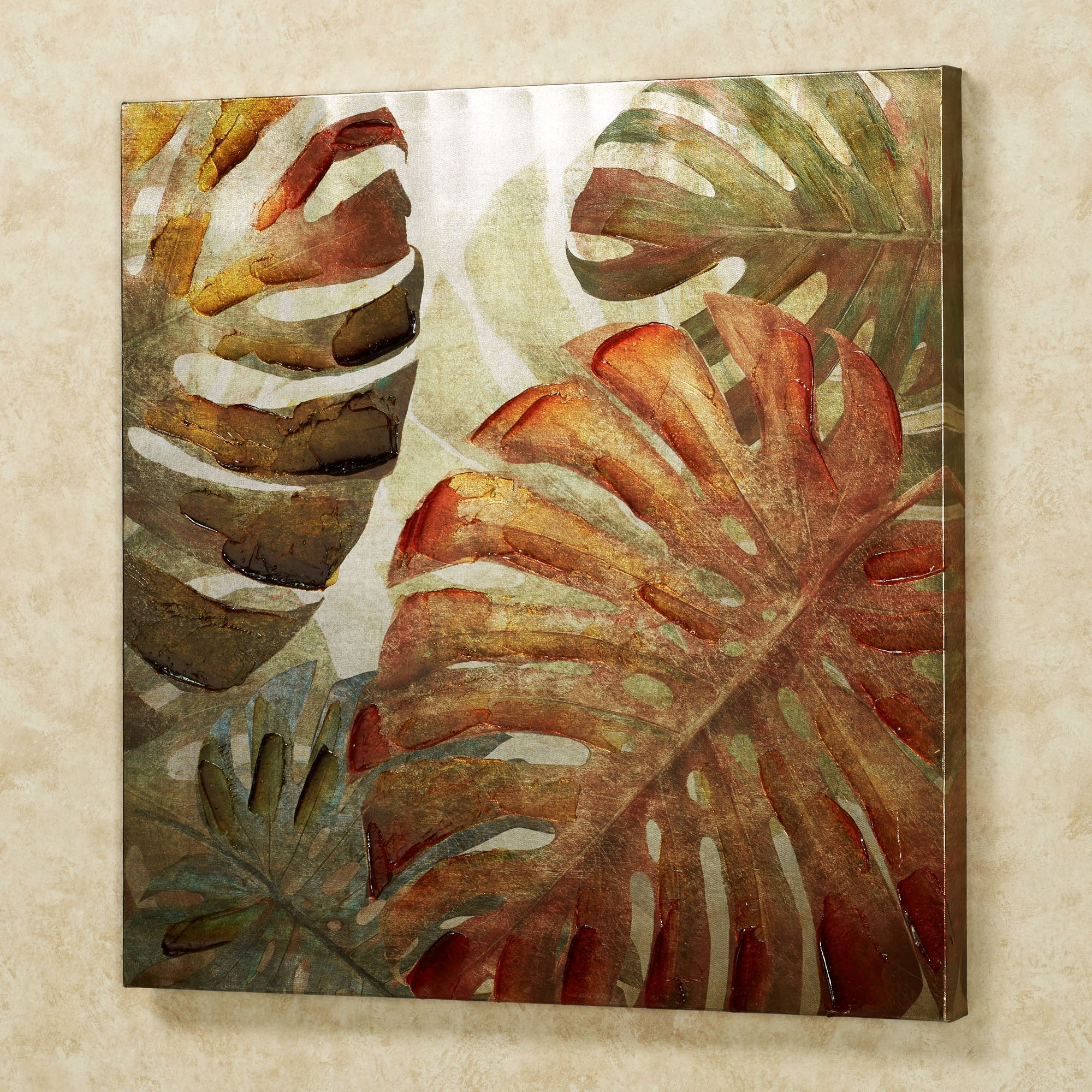 Monstera Leaves Canvas Wall Art Multi Warm Touch To Zoom